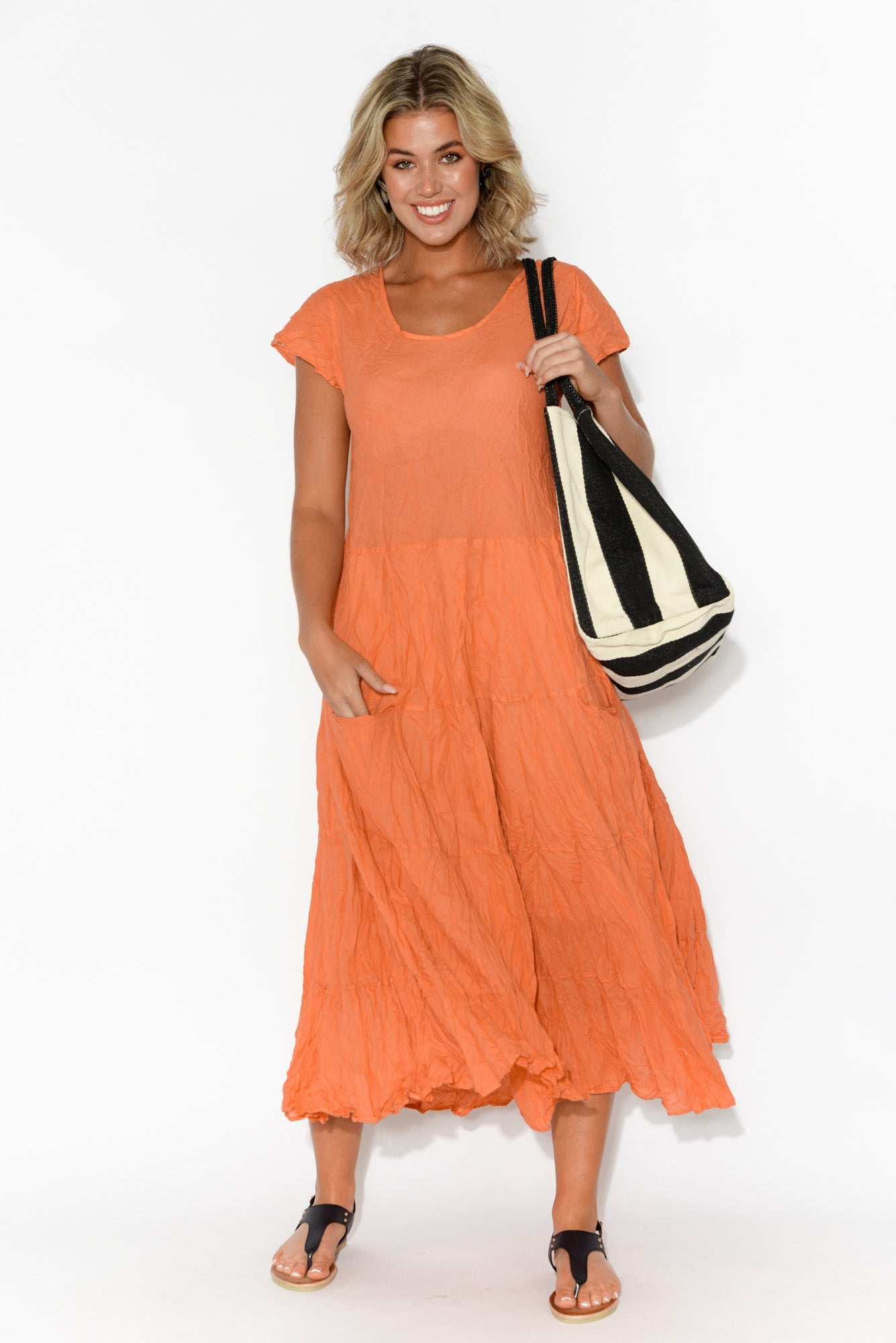 Orange Flared Crinkle Cotton Dress