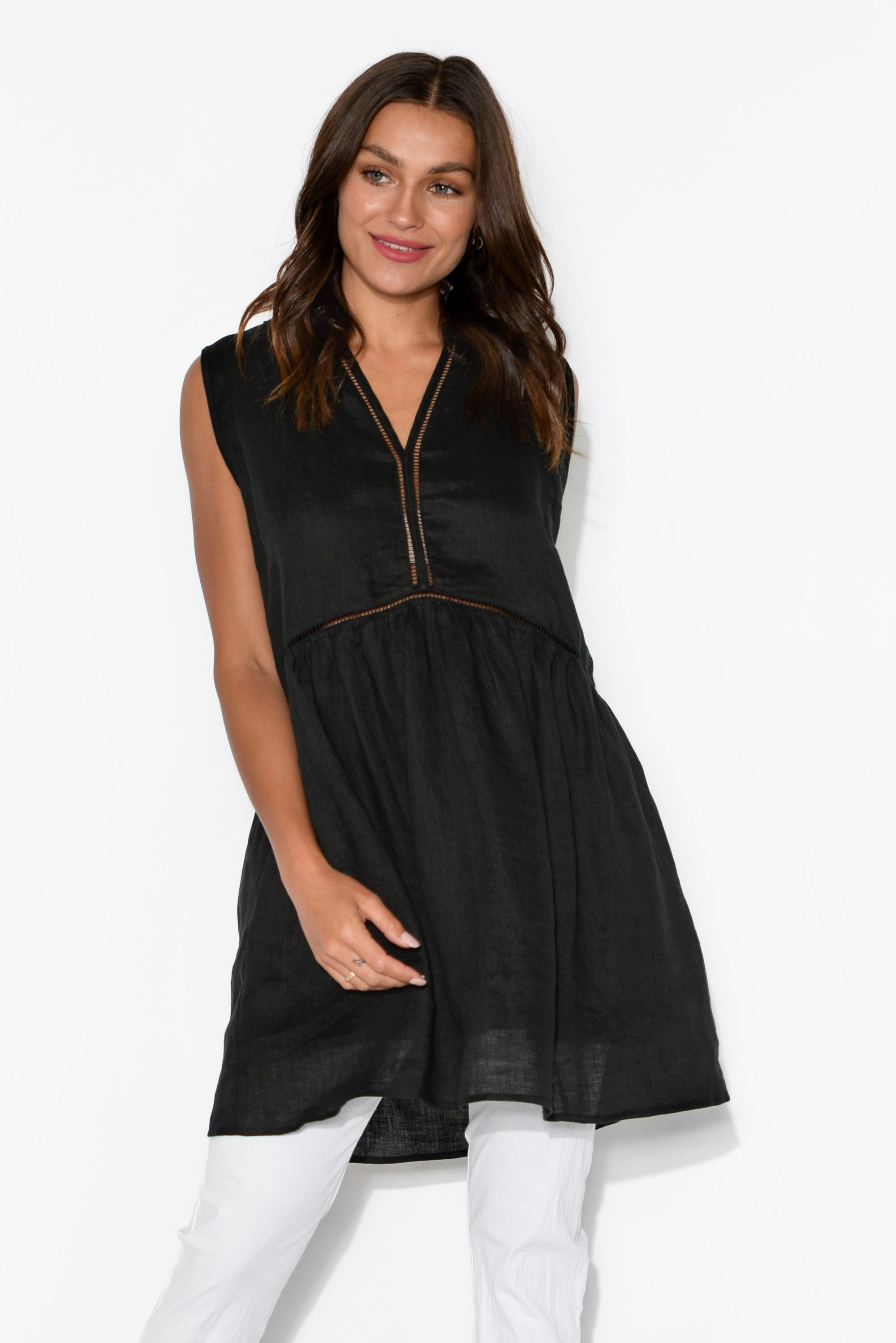 Palma Black Linen Pocket Tunic