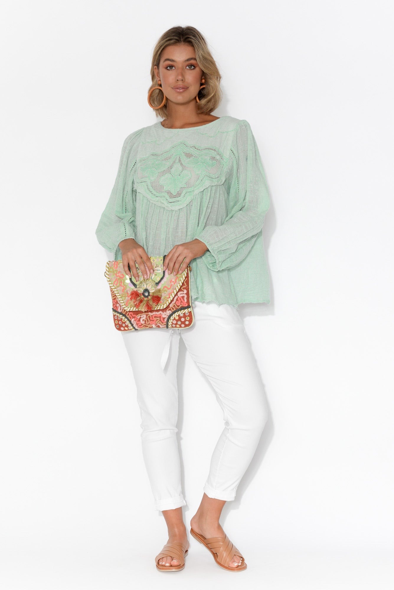 Patricia Embroidered Aqua Long Sleeve Top