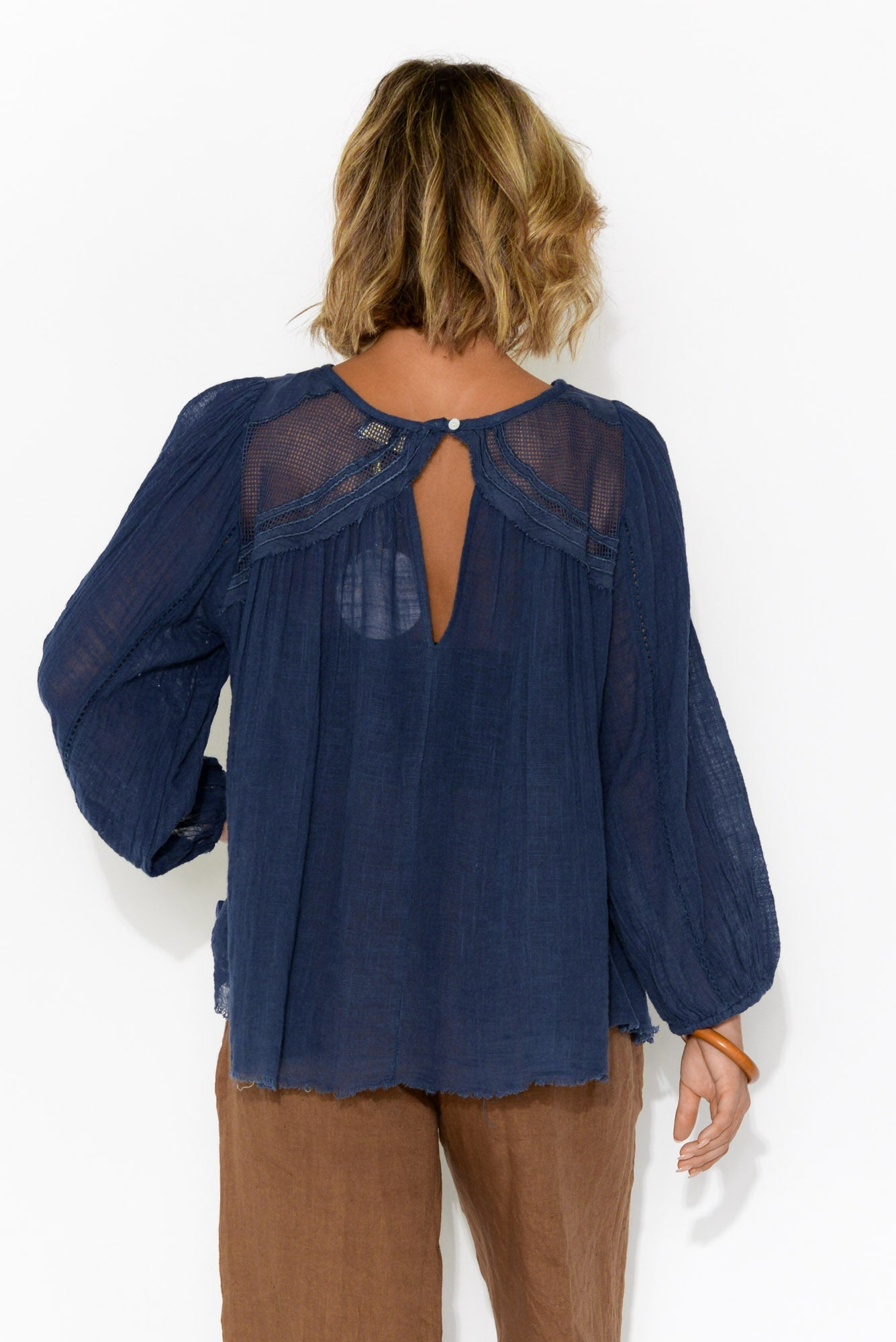 Patricia Embroidered Navy Long Sleeve Top