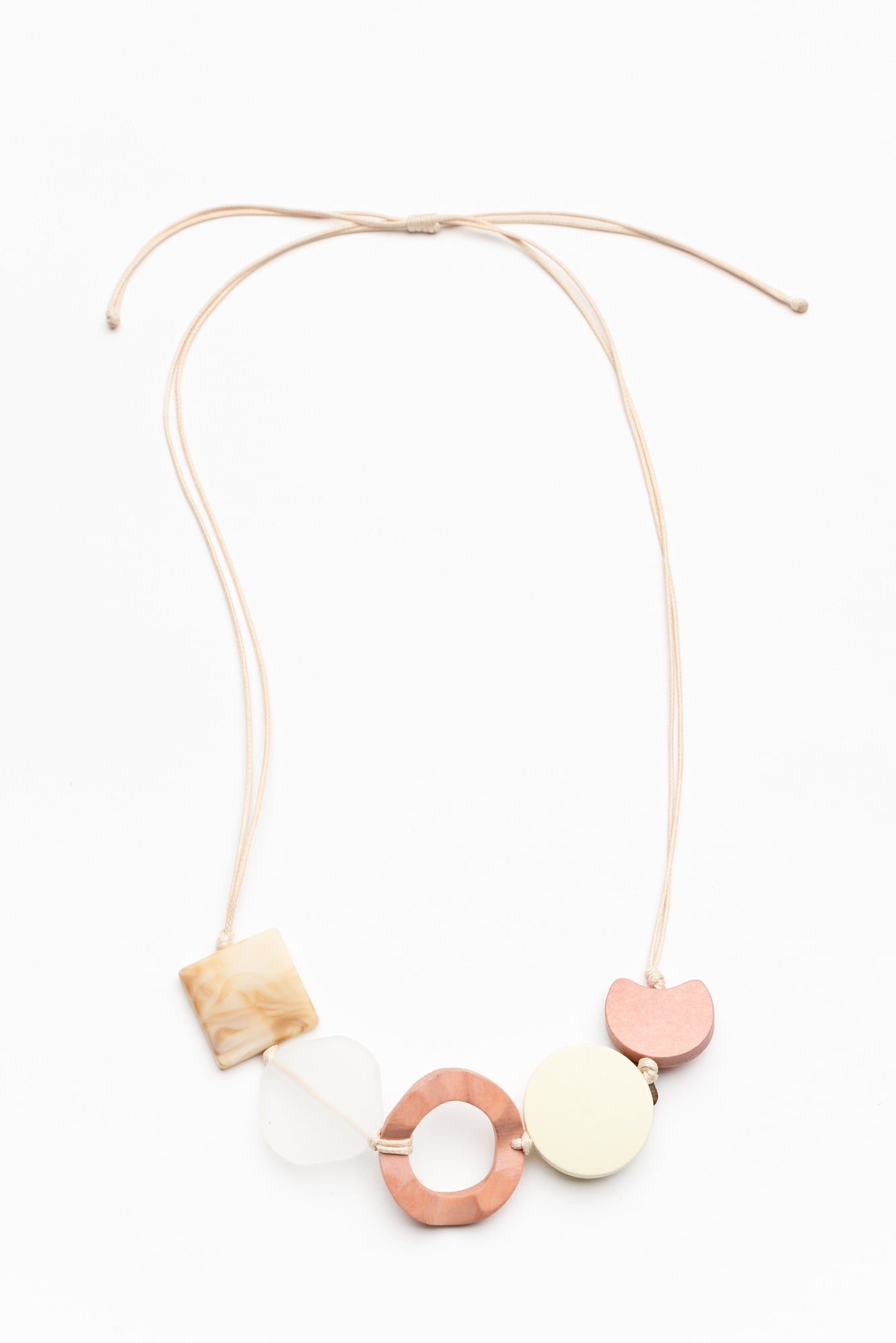 Paulina Pink Wooden Abstract Necklace