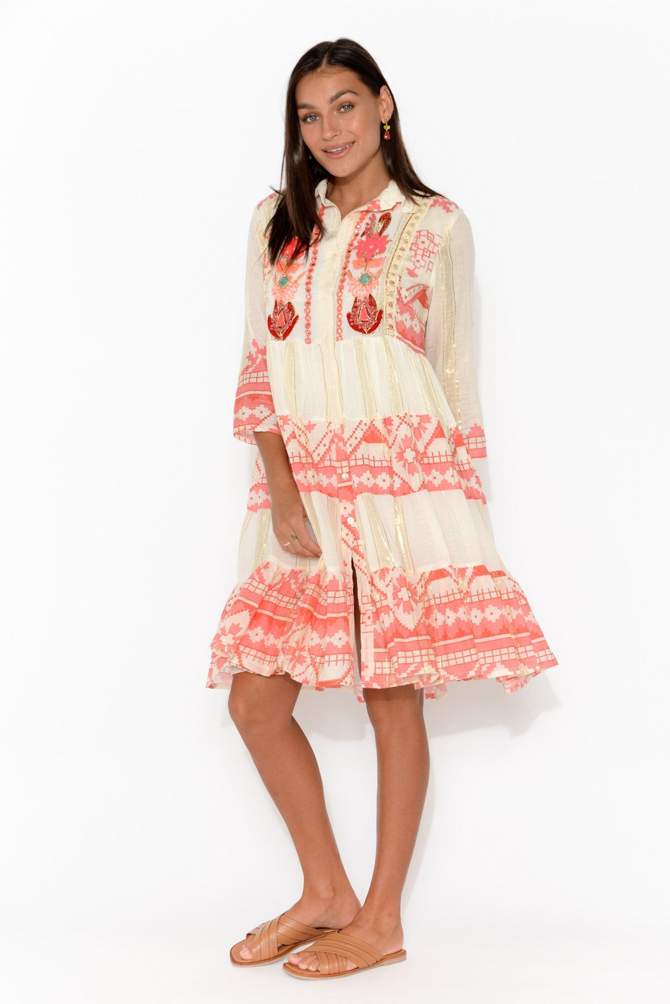 Peach Abstract Cotton Collared Dress