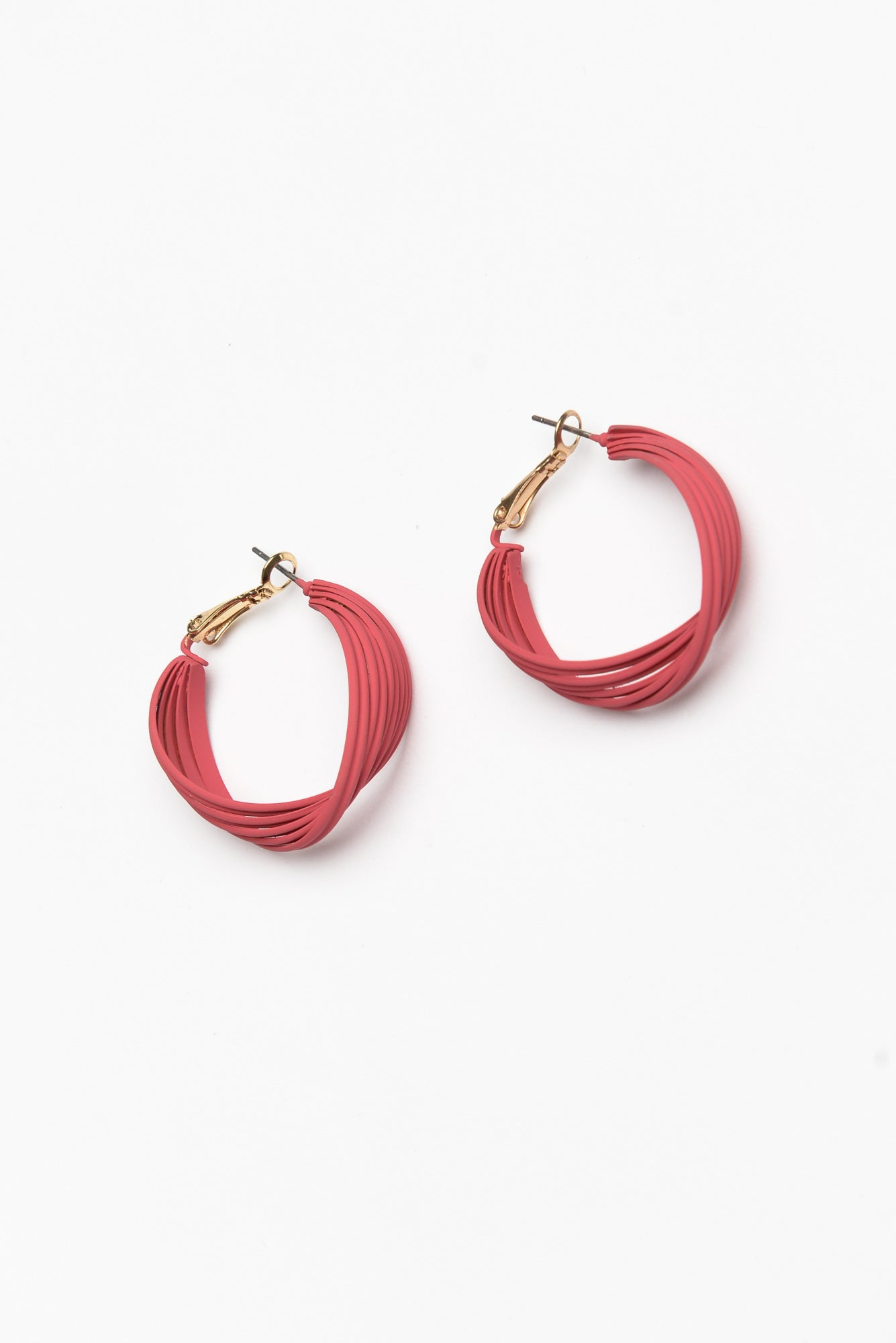 Pink Carmen Twisted Hoops