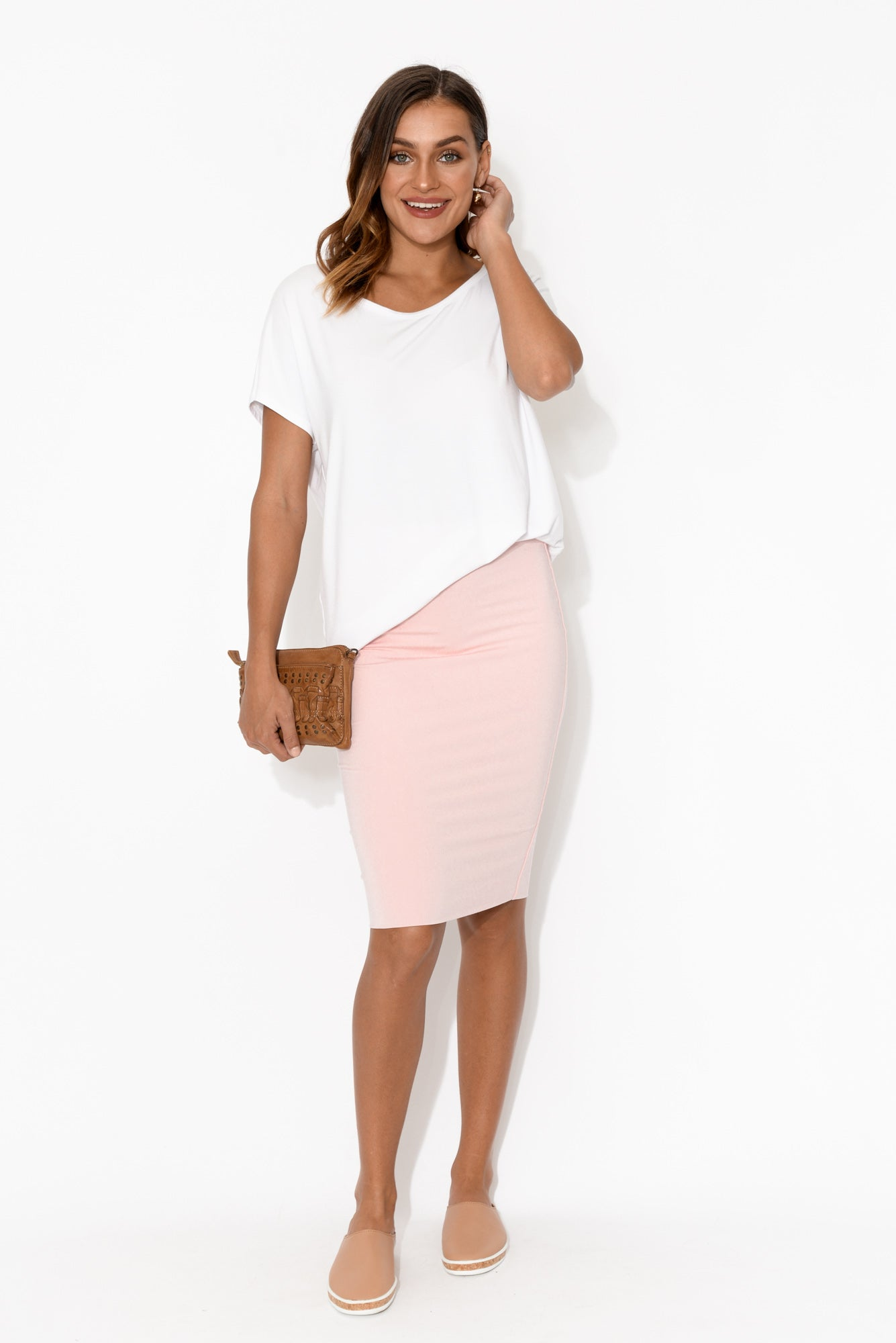 Pink Bamboo Double Layer Skirt