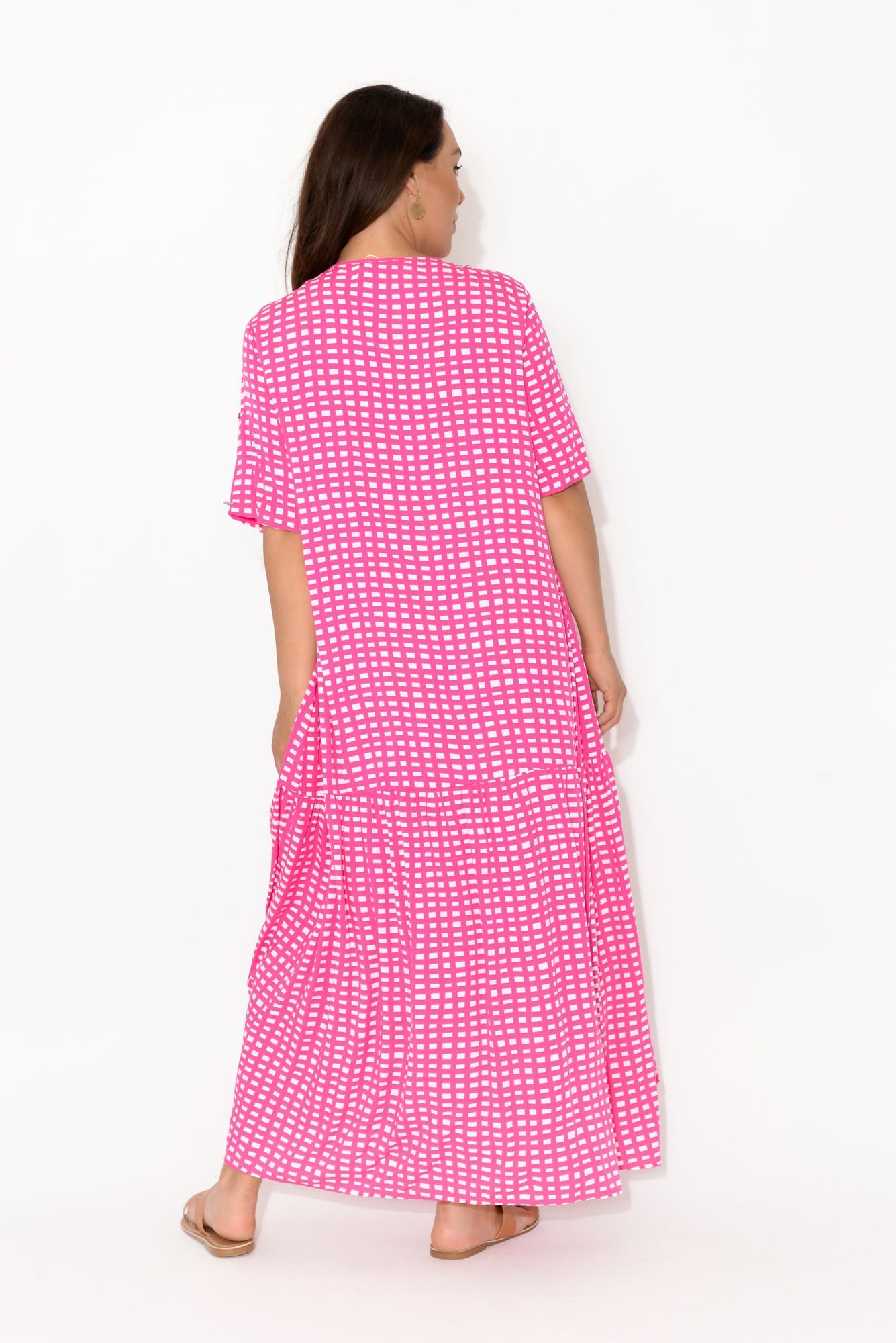Pink Gingham Peak Maxi Dress