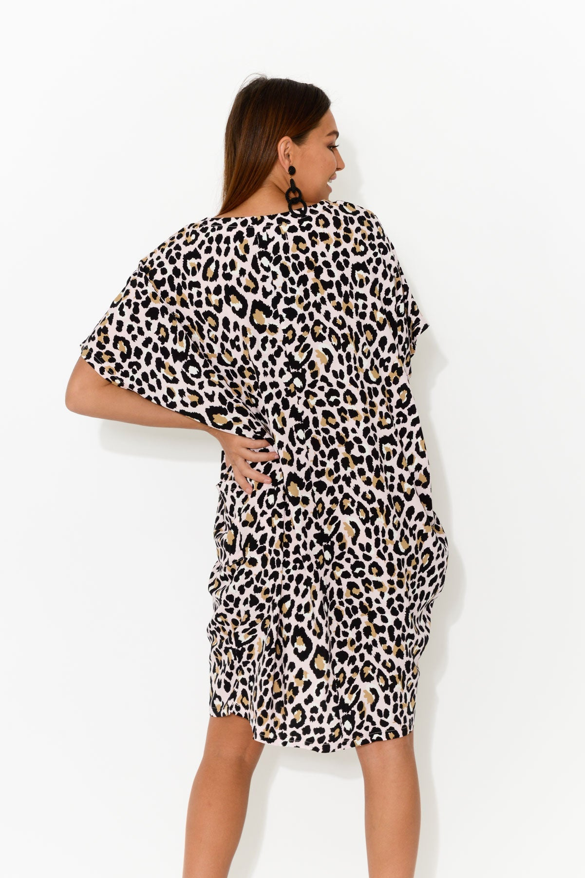 Pink Leopard Iris Drape Tee Dress - Blue Bungalow
