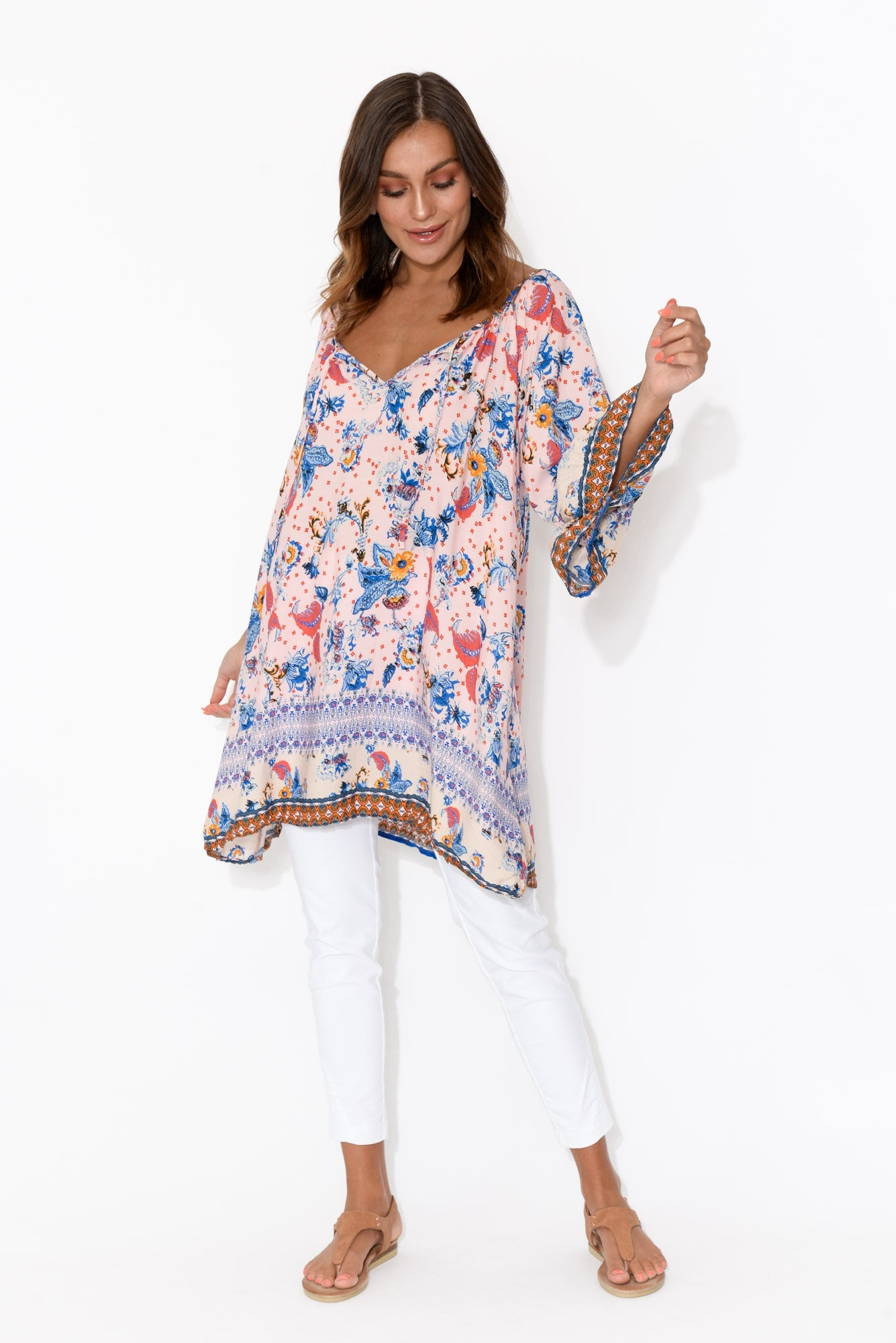 Pink Spring Bell Sleeve Top