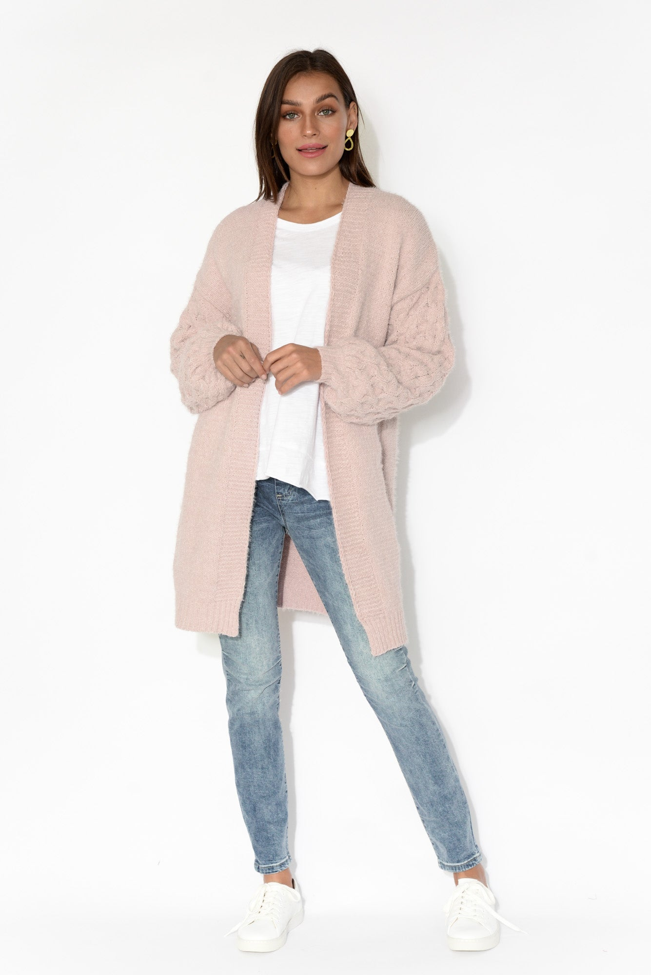 Poppy Blush Cable Knit Cardigan