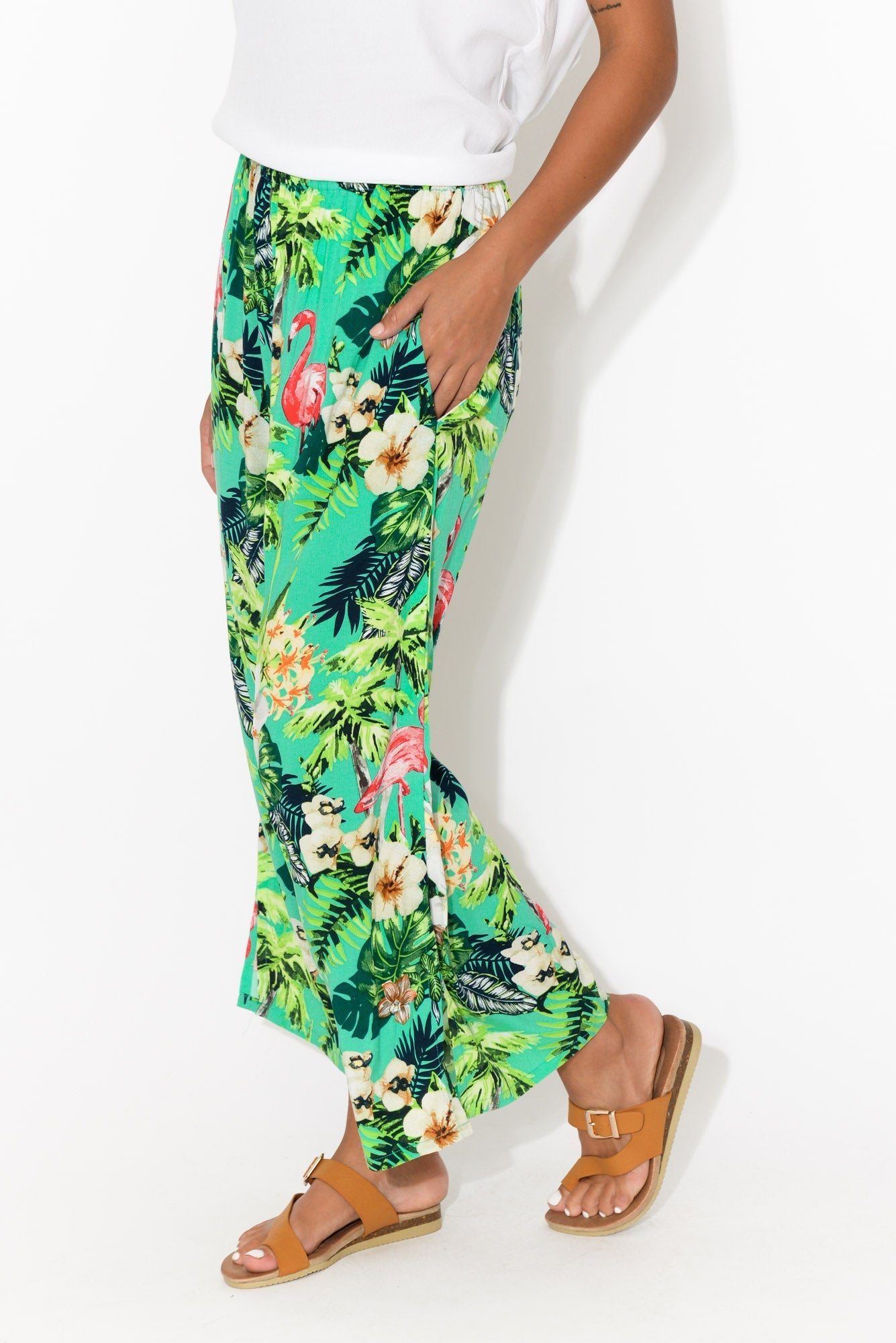 Priscilla Green Flamingo Wide Leg Pant