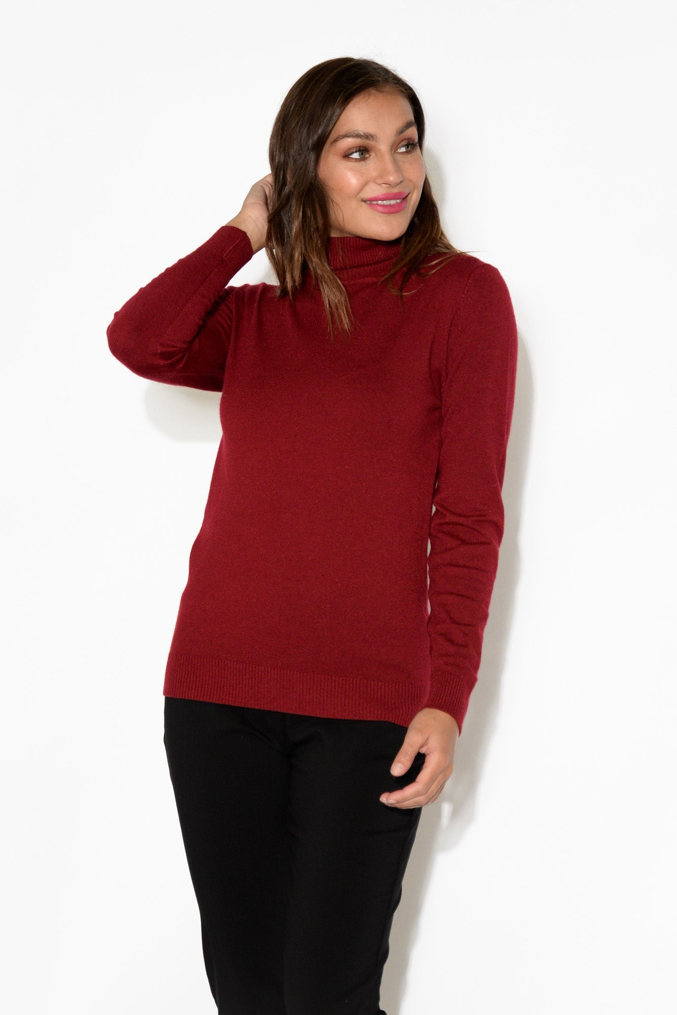 Red Turtleneck Knit Top