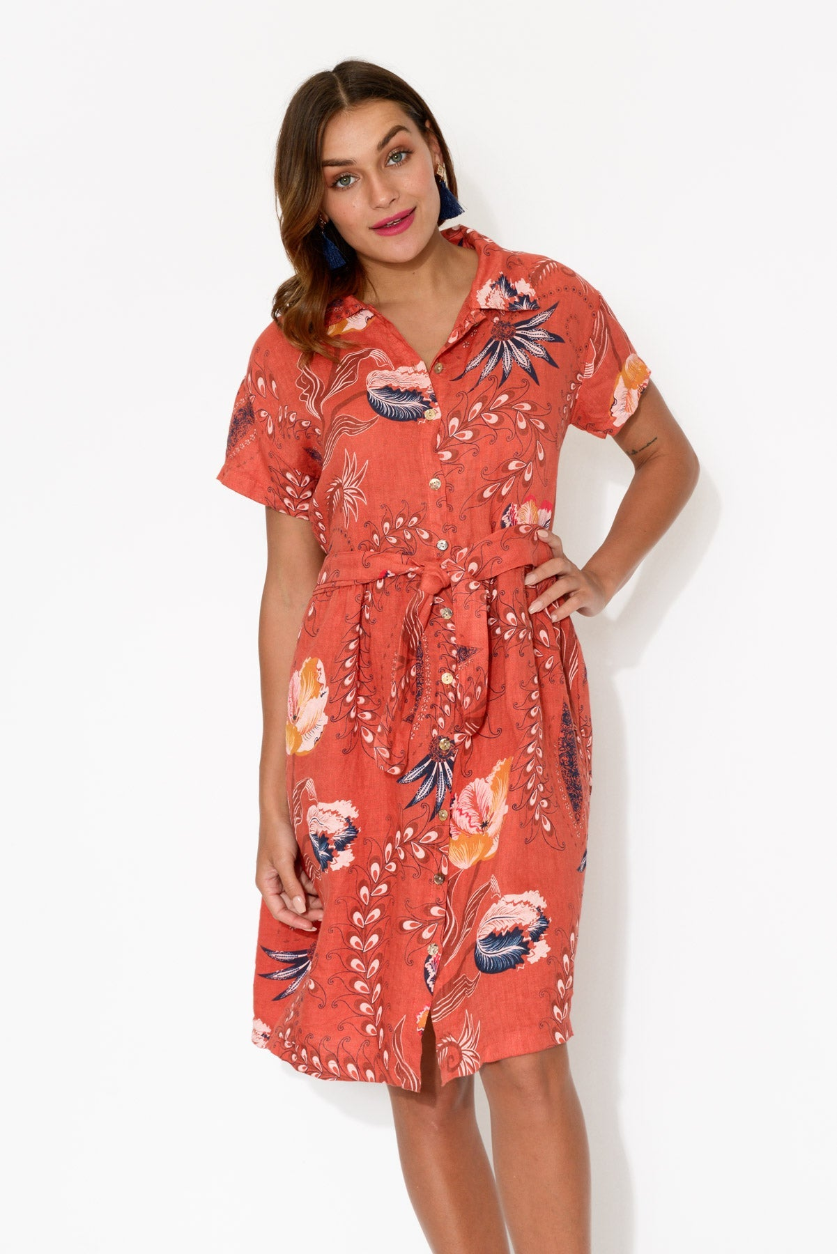 Red Paisley Button Down Linen Dress