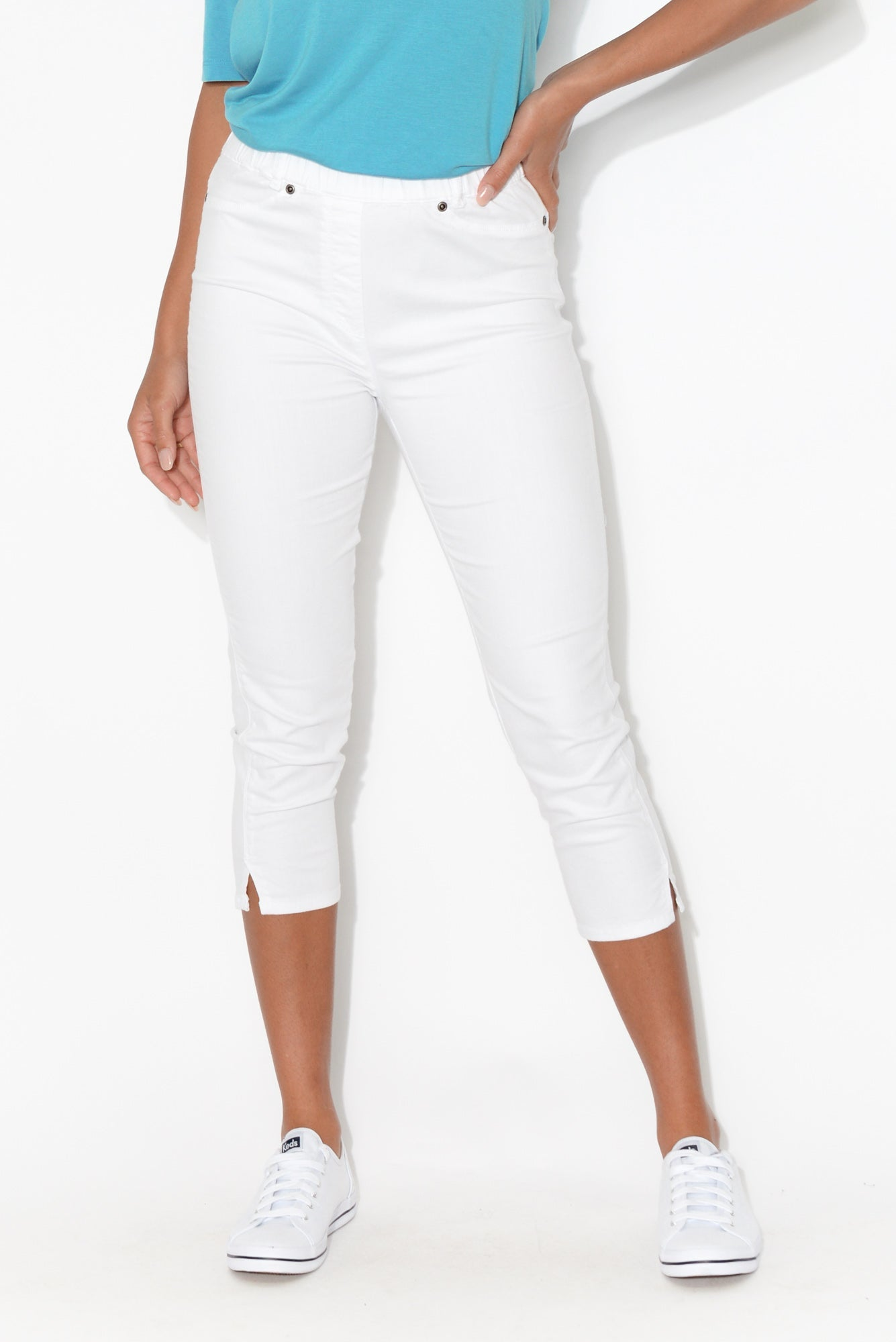 Reed White Stretch Cotton Capri Pant