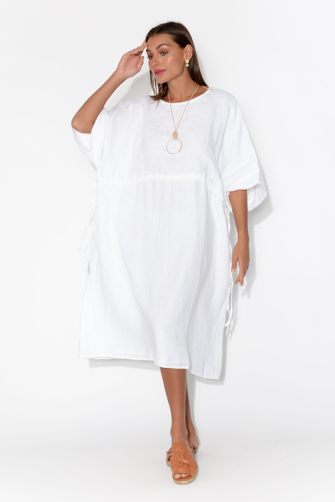 Remo White Linen Batwing Dress