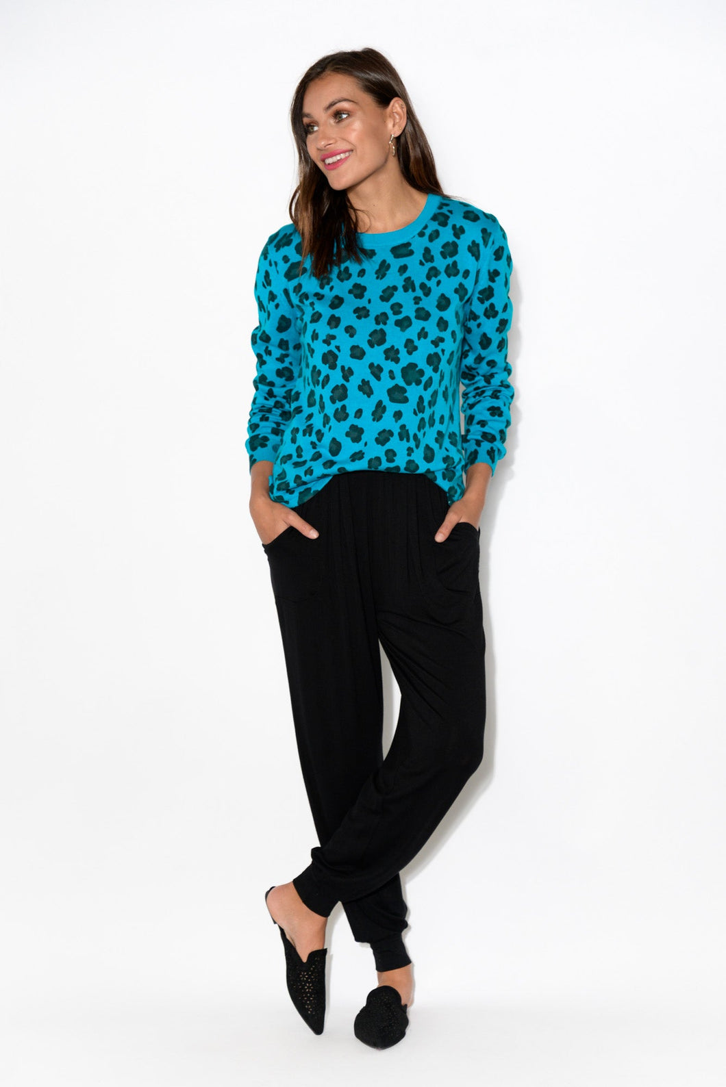 Renee Blue Leopard Jumper