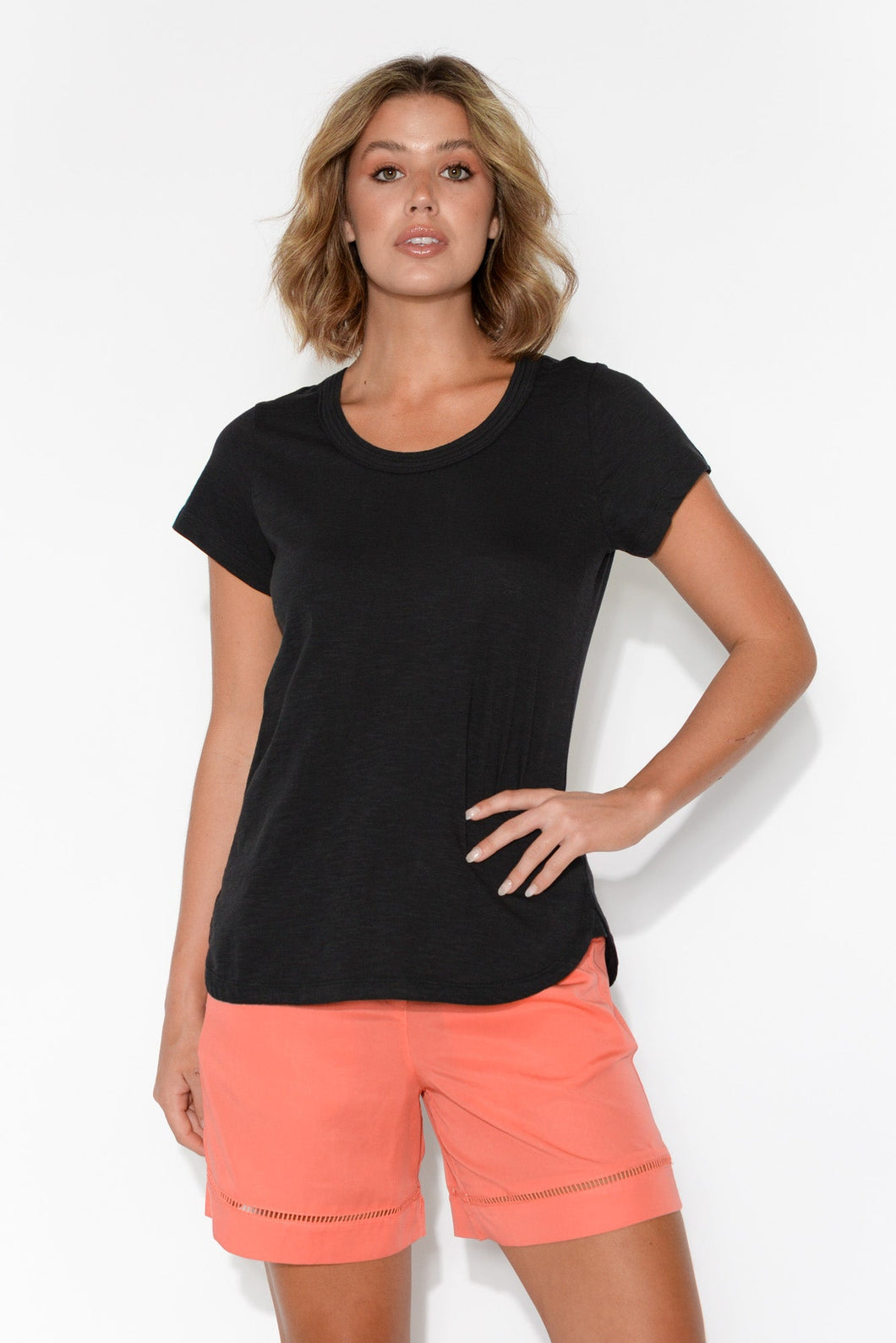 Ruth Black Round Neck Cotton Tee