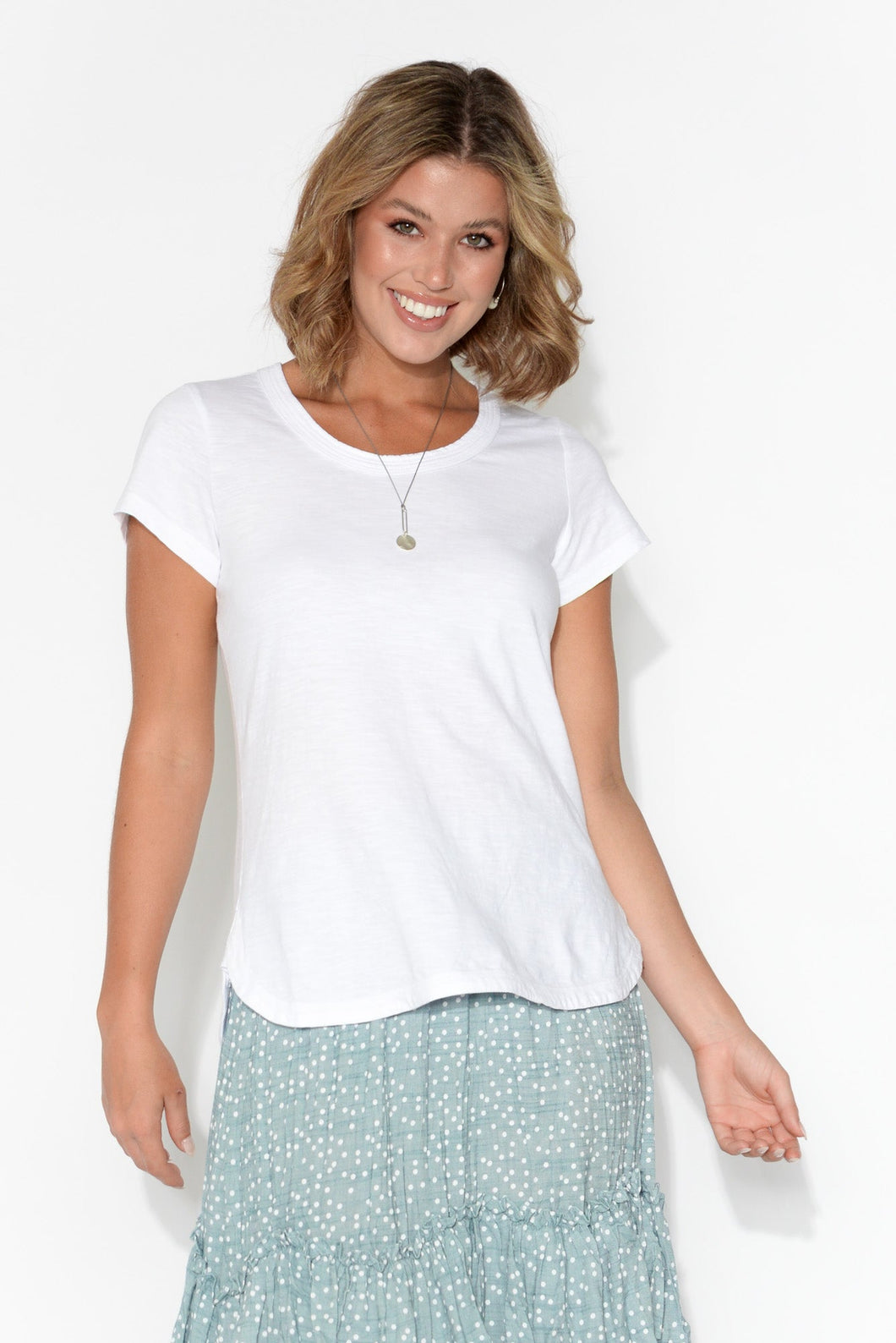 Ruth White Round Neck Cotton Tee