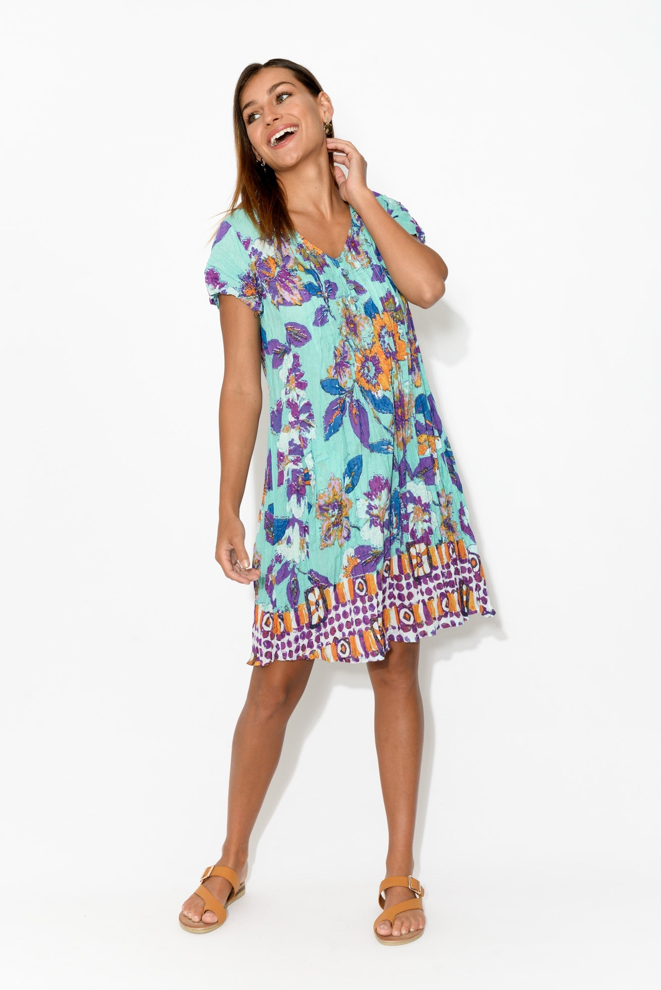 Sabina Purple Crinkle Cotton Dress
