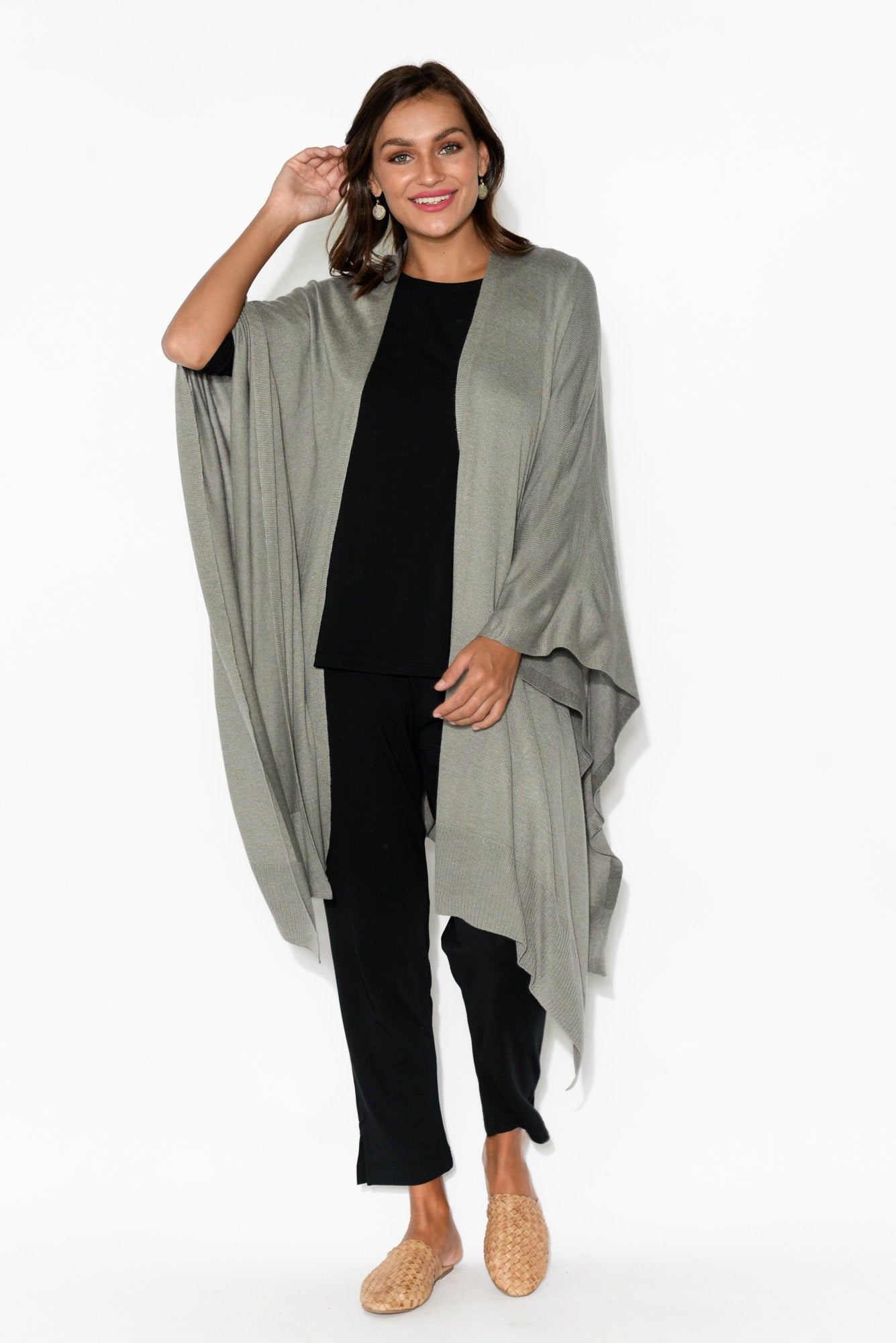 Sage Grey Bamboo Cashmere Knit Wrap