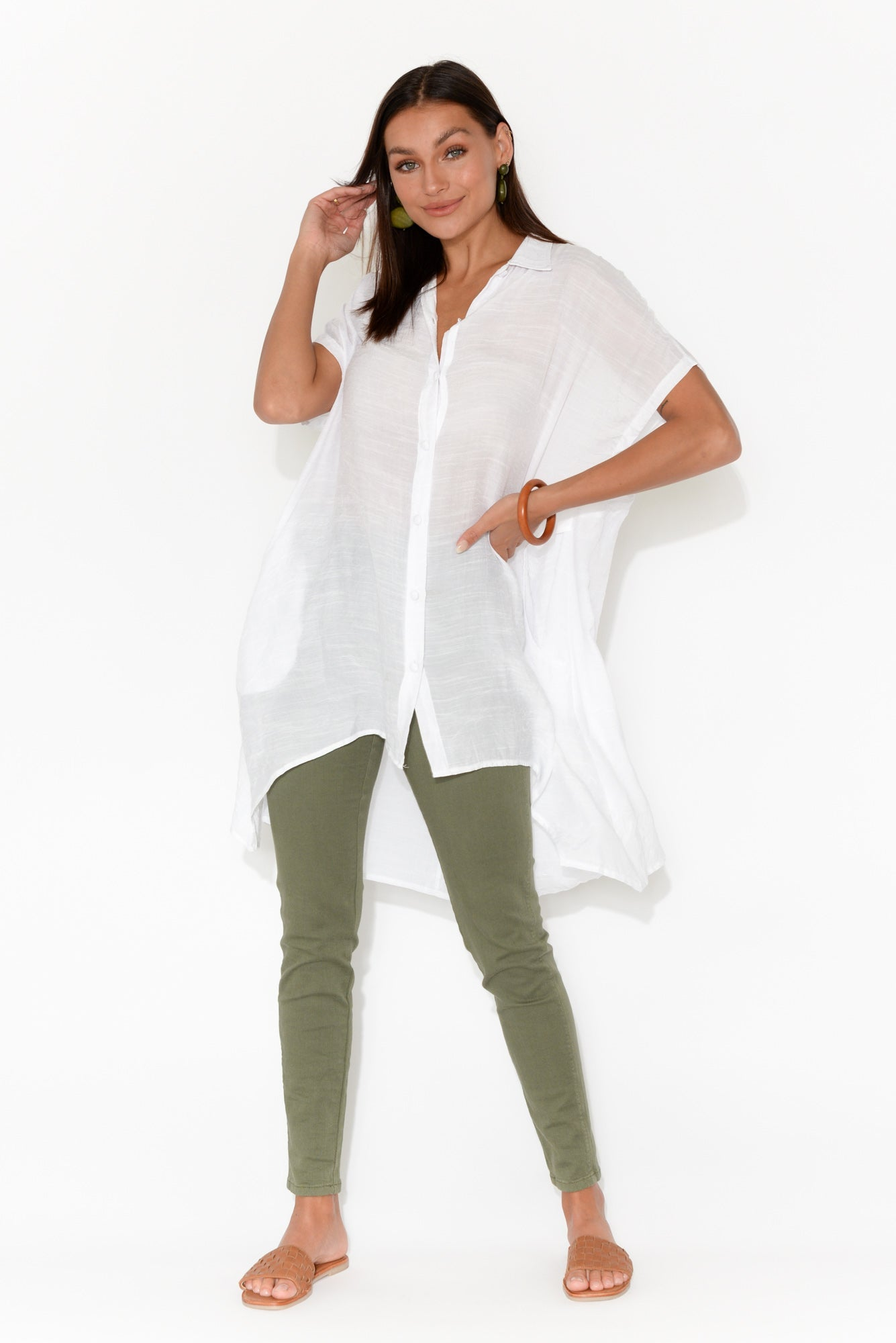 Sandra White Button Tunic Top