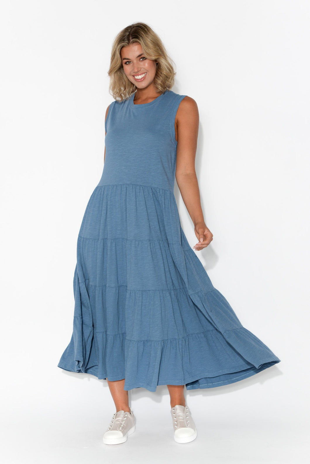 Saskia Blue Cotton Tiered Maxi Dress