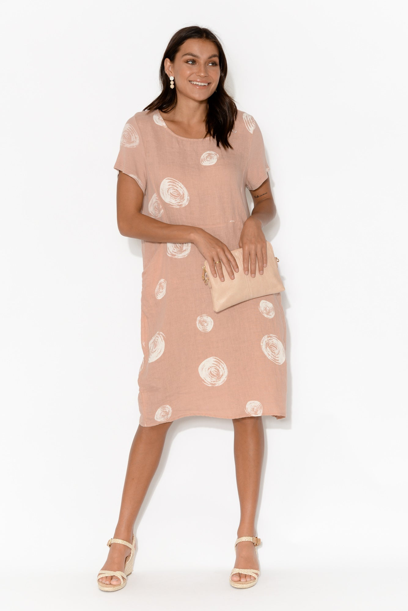 Sawyer Blush Spot Linen Pocket Dress