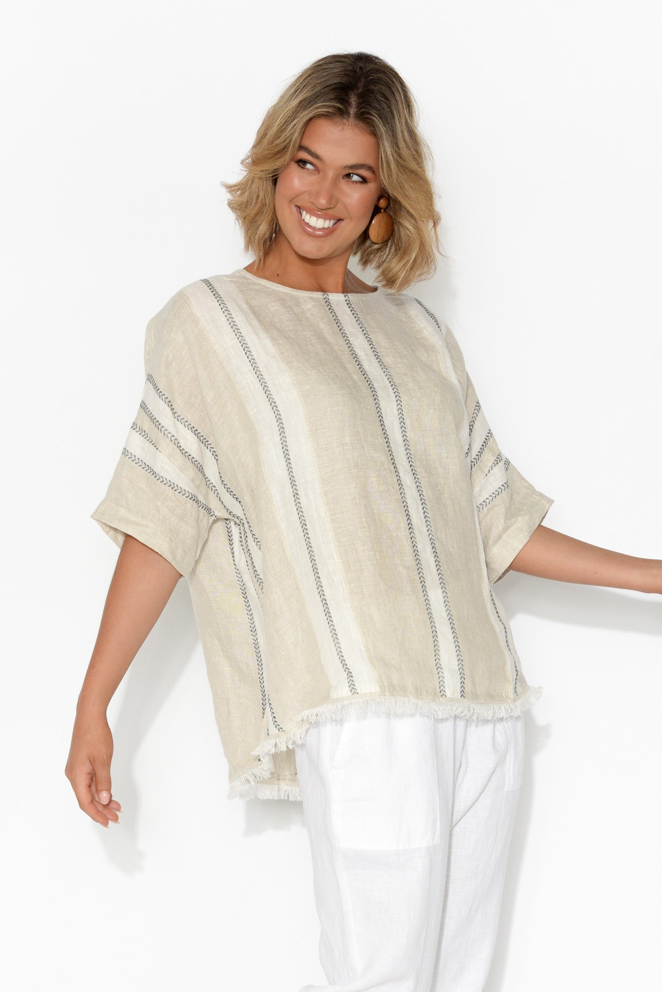 Scout Linen Natural Stripe Fringe Top