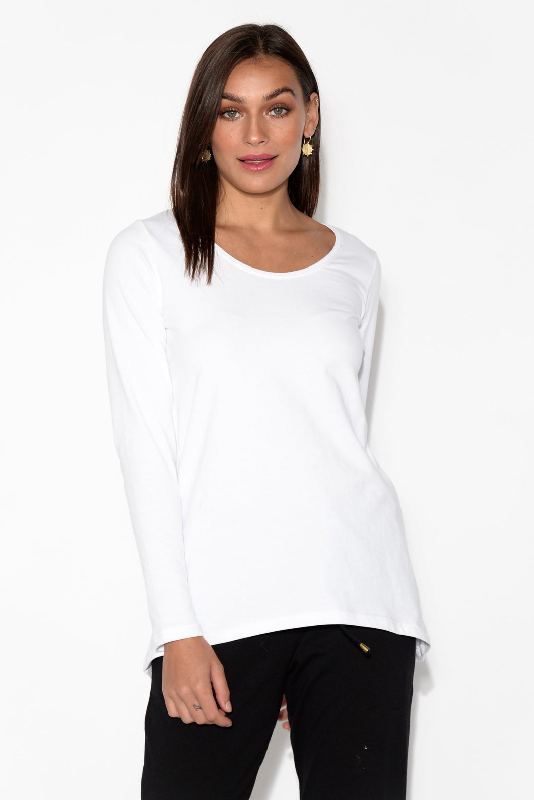 Shania White Curved Hem Top
