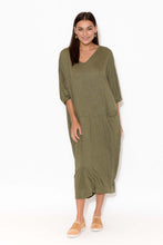 Shay Khaki Crinkle Cotton Midi Dress