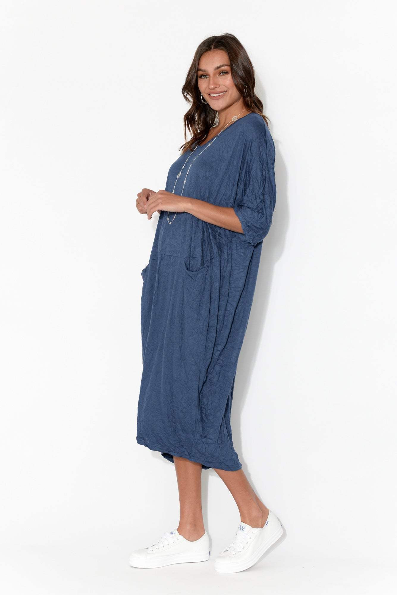 Shay Navy Crinkle Cotton Midi Dress