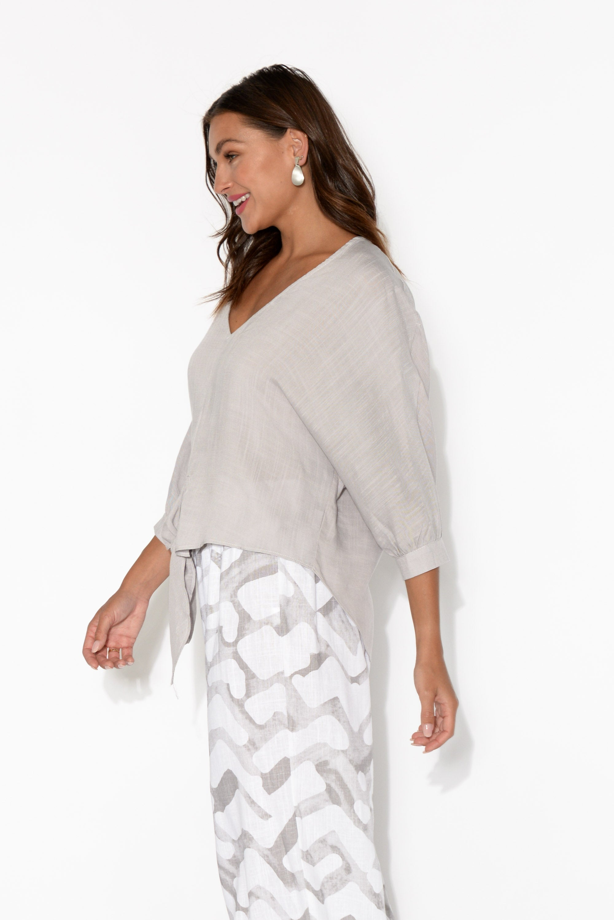 Shelby Grey Front Tie Top