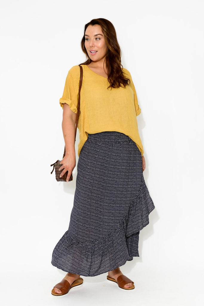 Sienna Navy Dash Ruffle Skirt