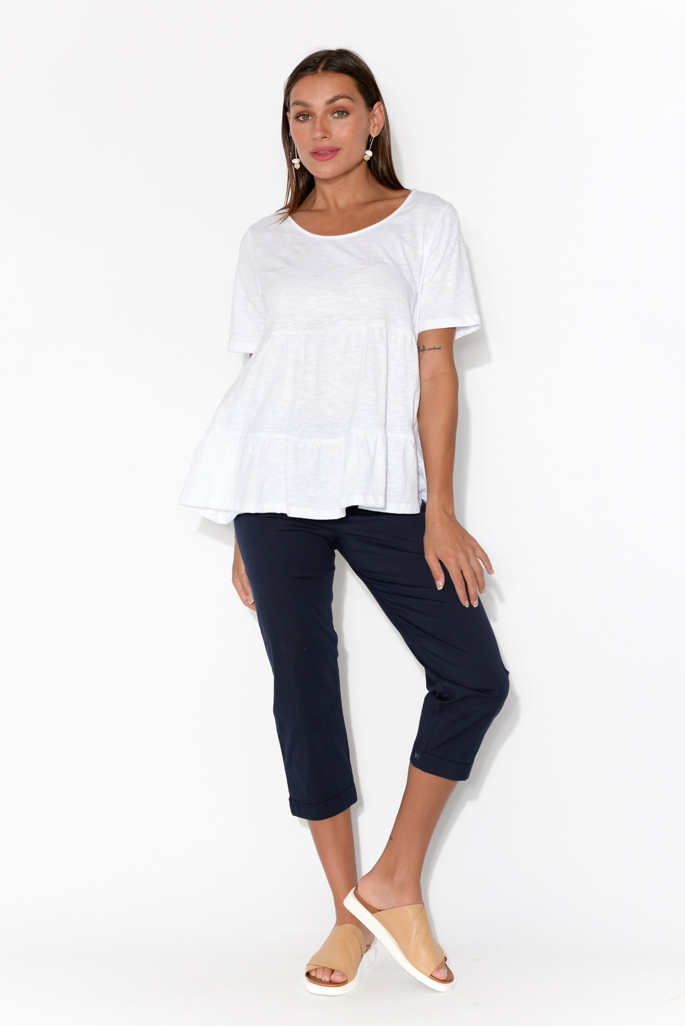 Sofia White Cotton Ruffle Top