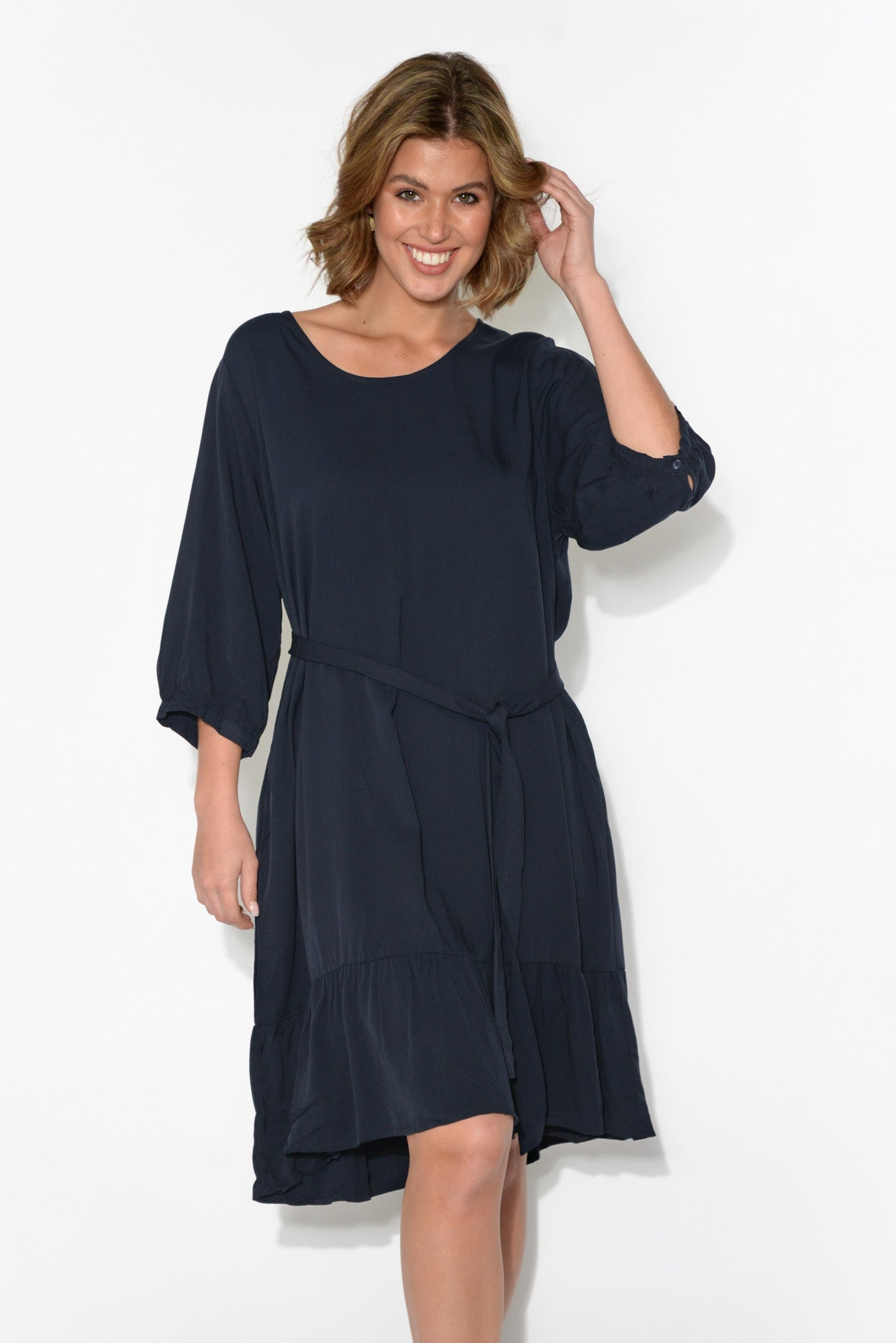 Sophie Navy Ruffle Dress