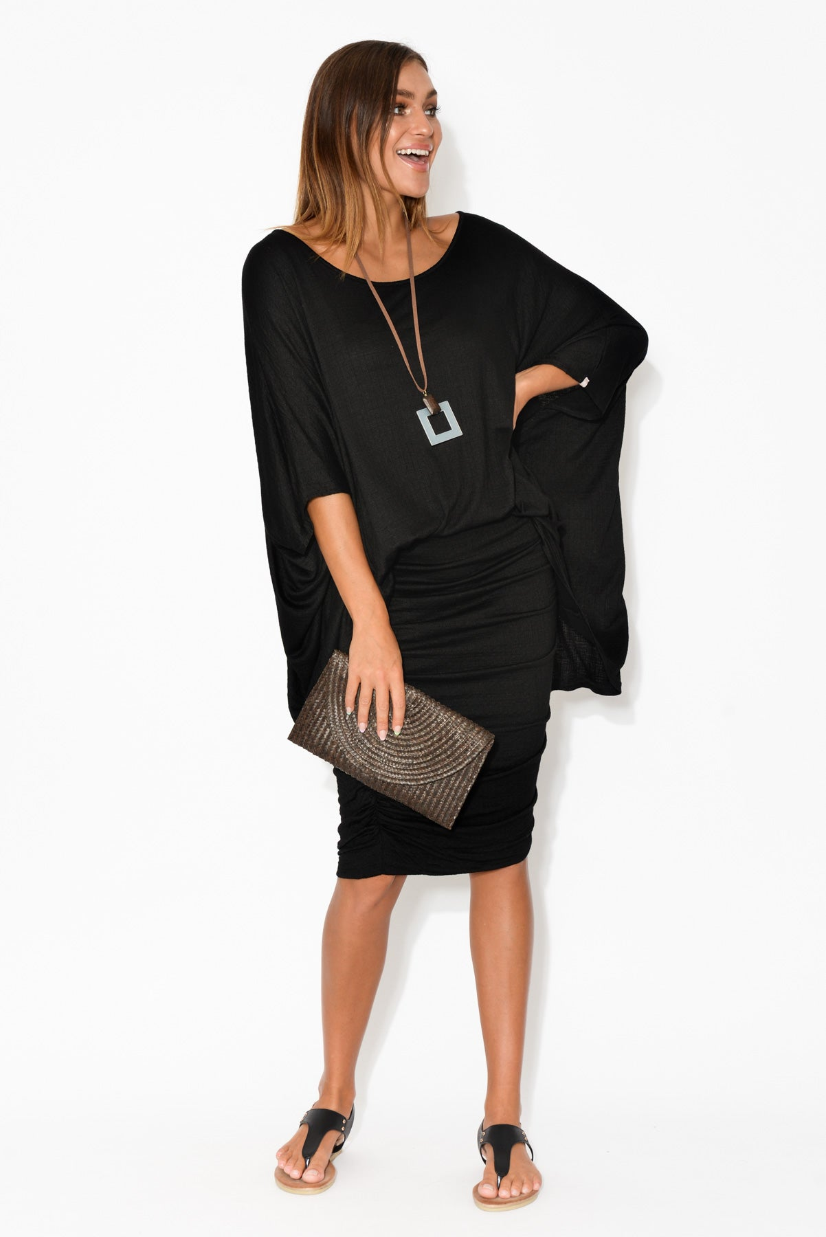 Sorronda Textured Black Batwing Top