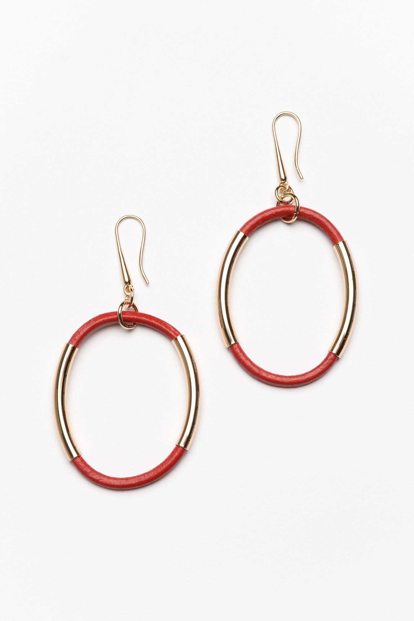 Estella Red Oval Drop Earring