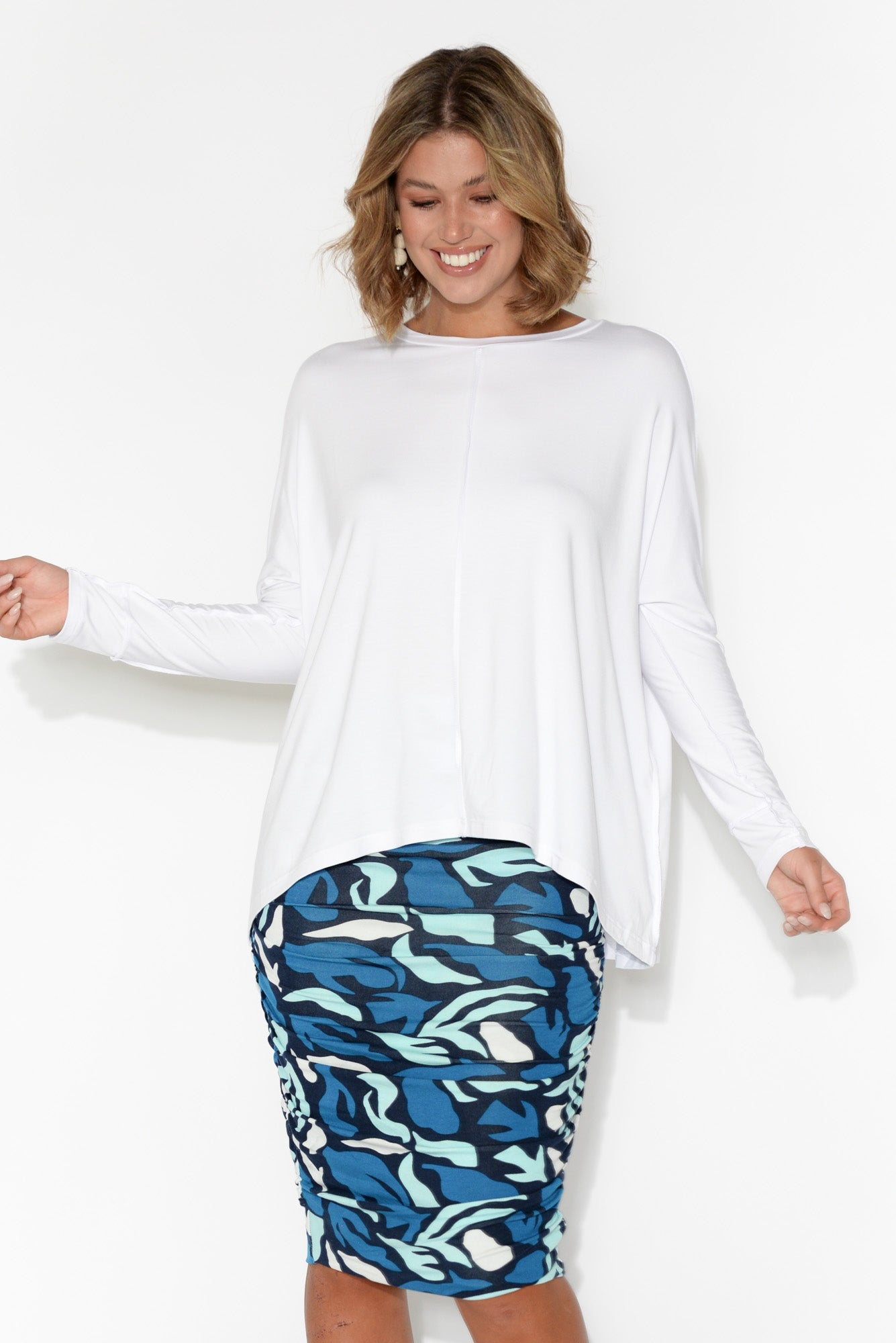 Stella White Bamboo Long Sleeve Top