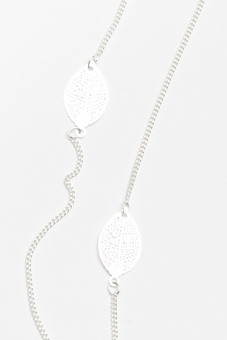 Stem Silver Leaf Fine Chain Necklace