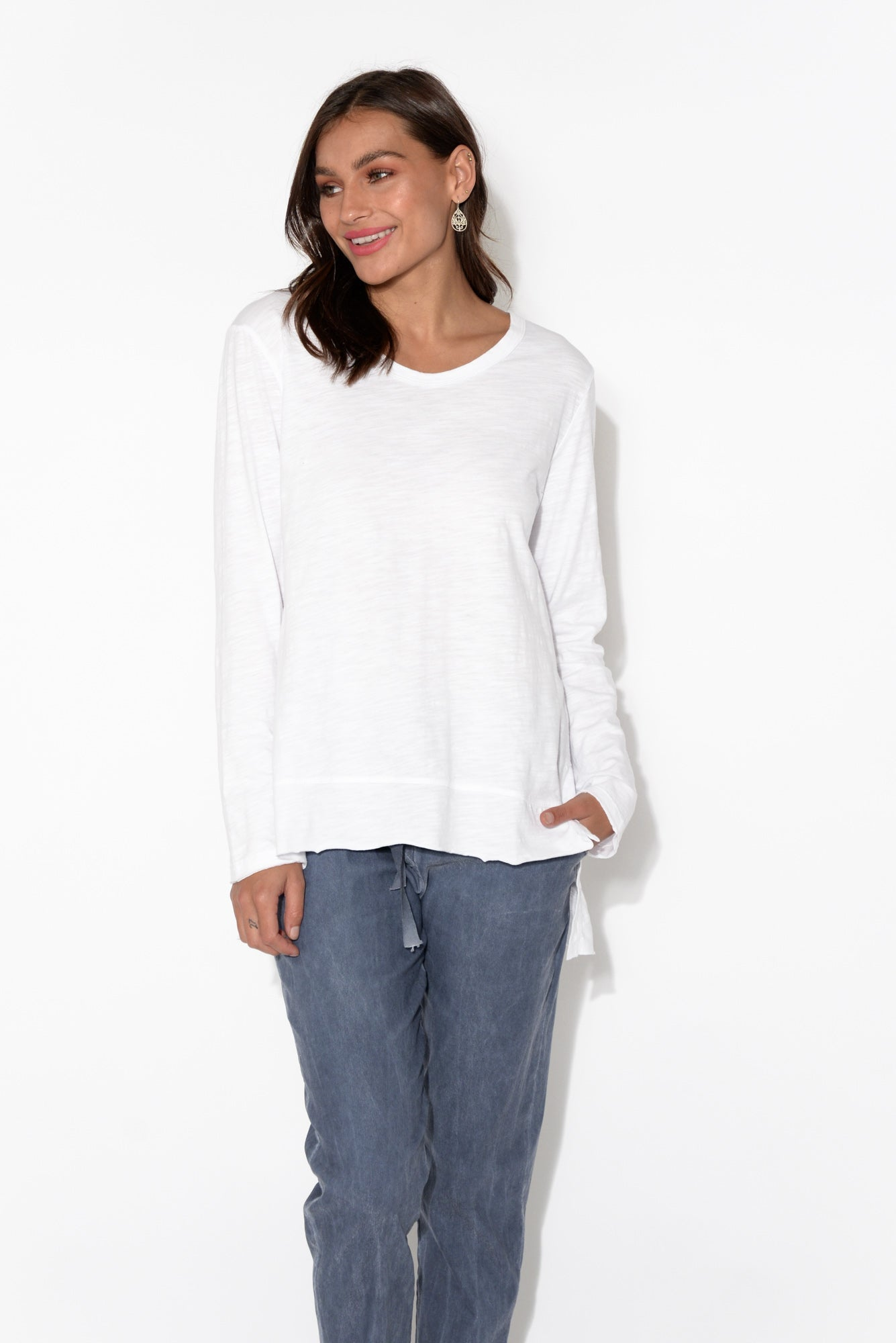 Strumpet White Cotton Long Sleeve Top