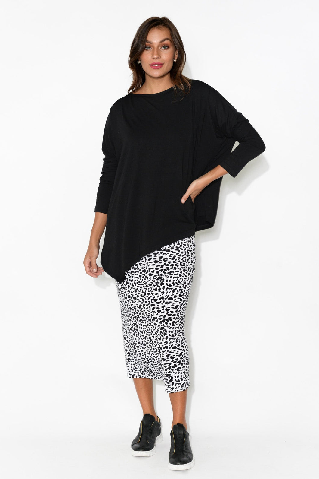 Susie Black Asymmetrical Bamboo Top