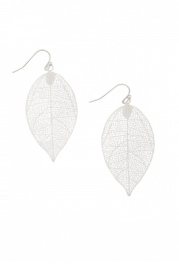 Silver Leaf Cutout Earring - Blue Bungalow