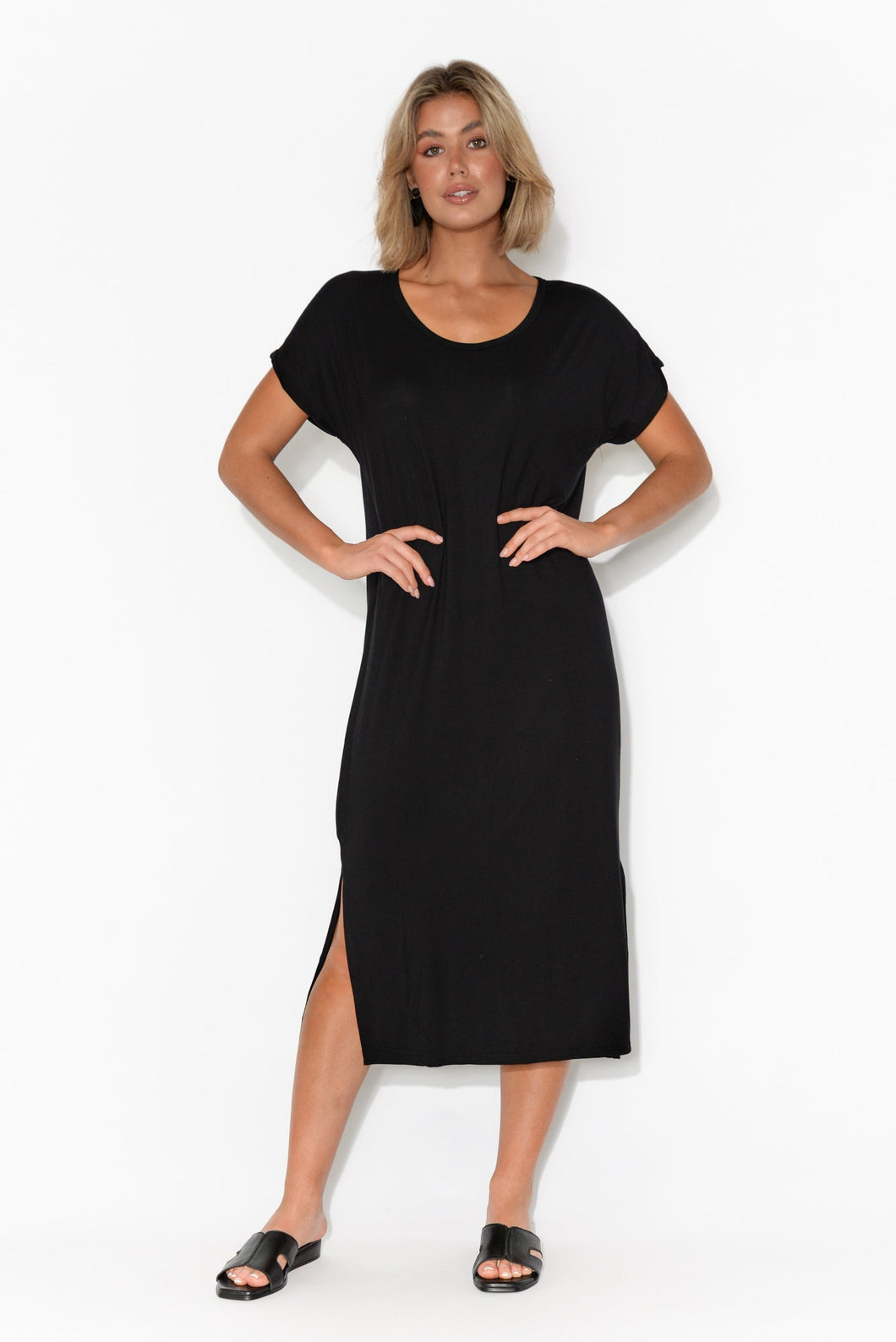 Talita Black Bamboo Midi Dress