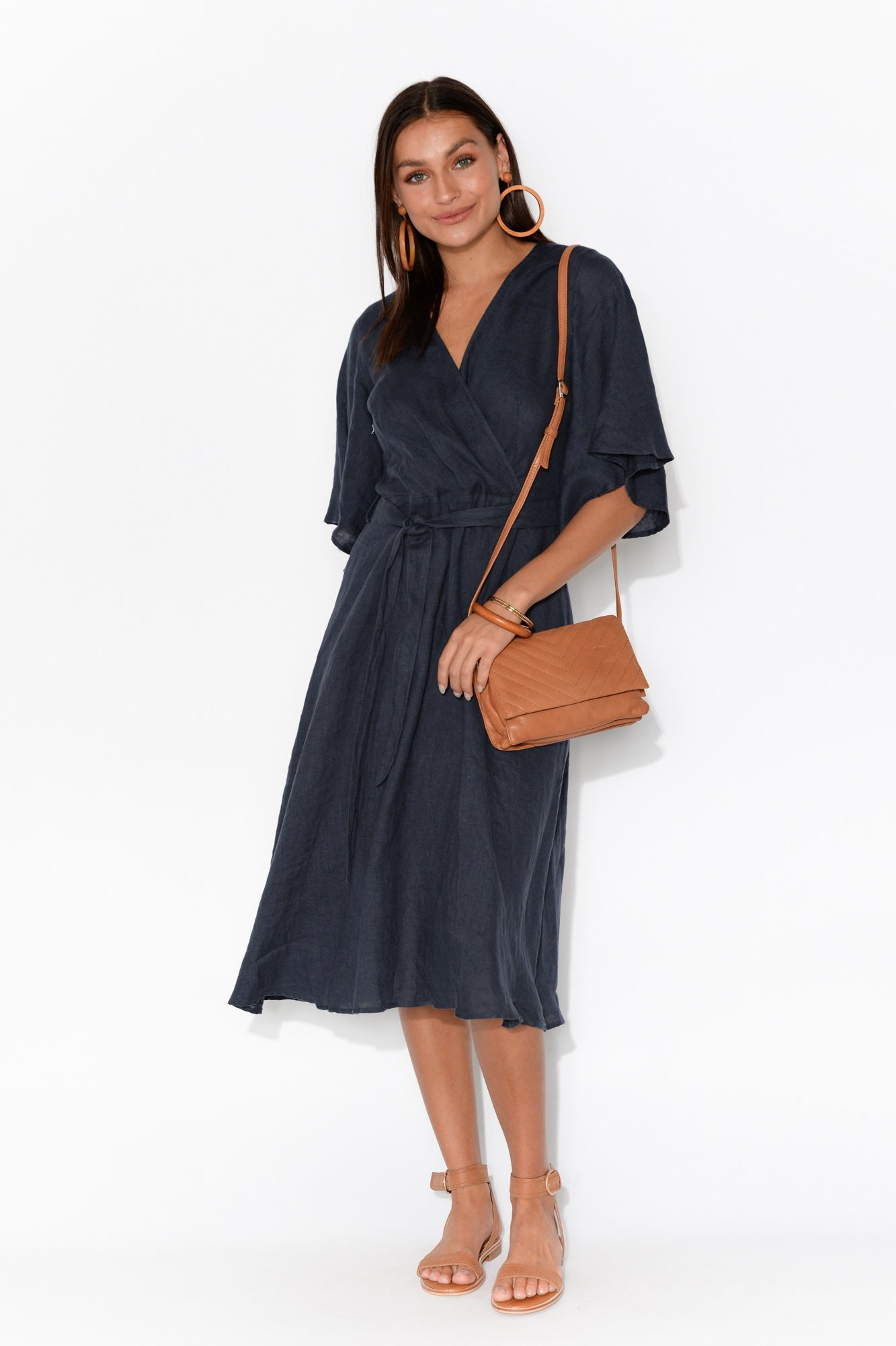 Tallulah Navy Linen Wrap Dress