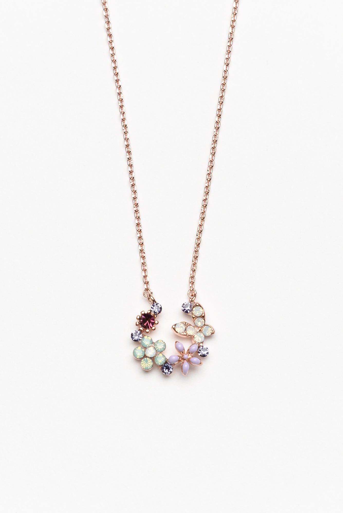 Allegra Burgundy Rose Gold Garden Necklace