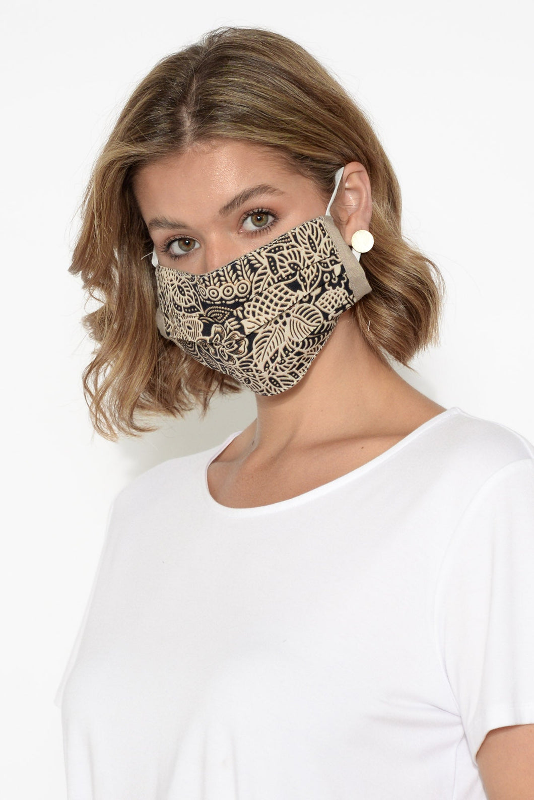 Taupe Floral Fashion Face Mask