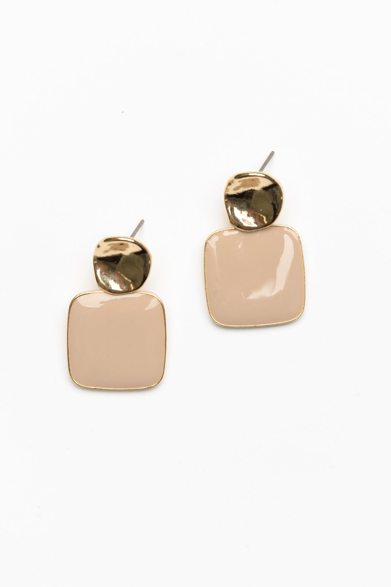 Taupe Retro Square Enamel Drop Earring