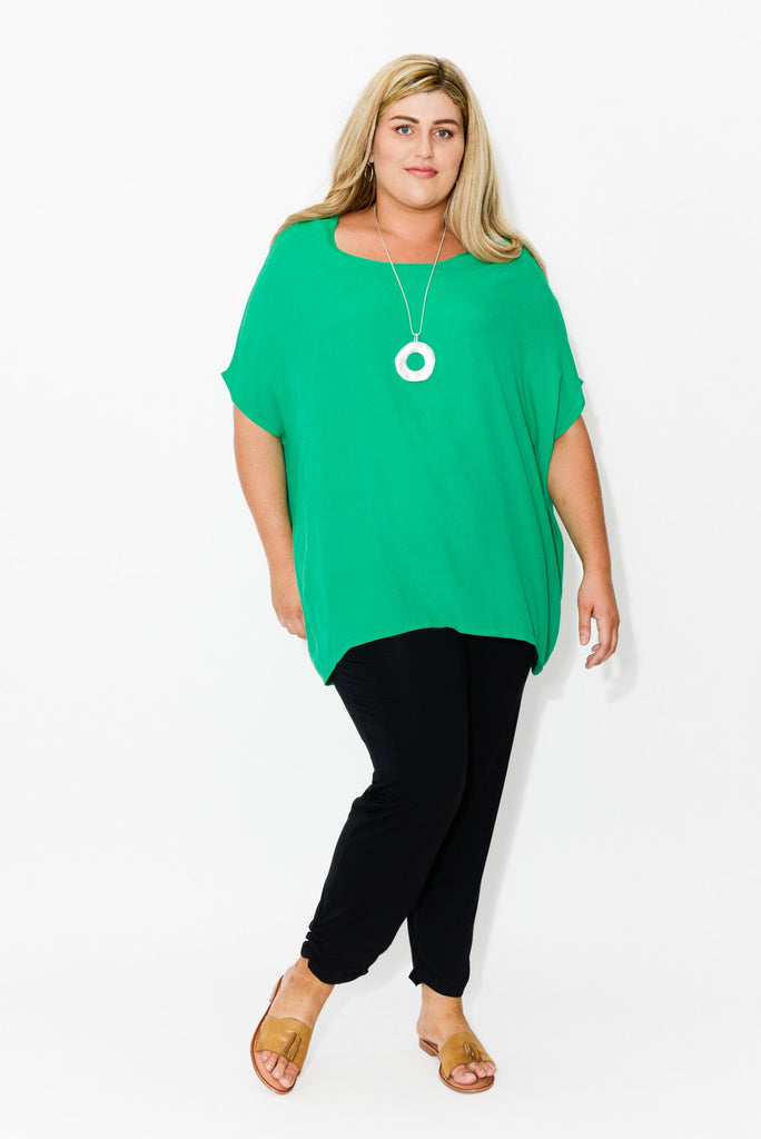 Tess Green Drape Top