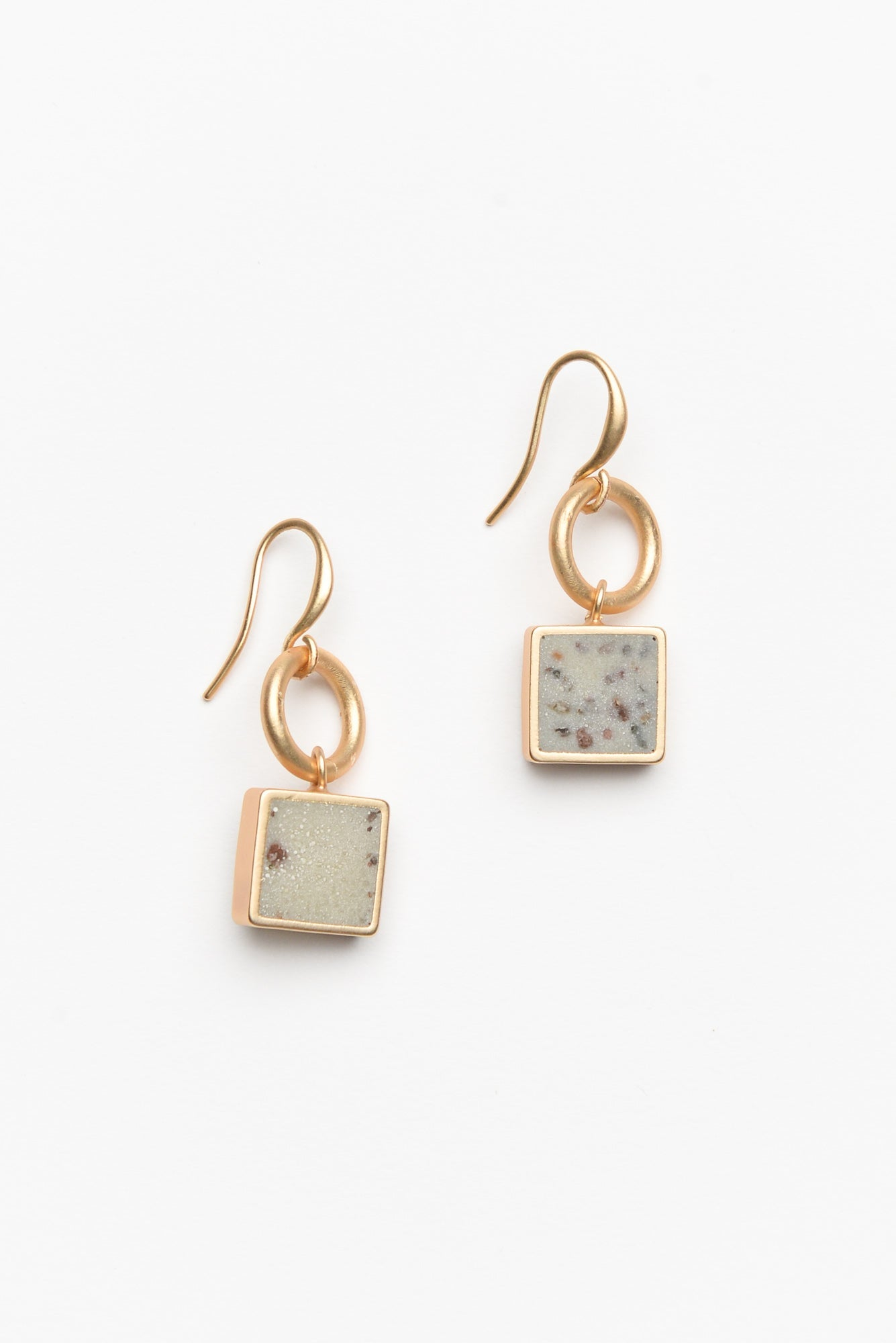 Thea White Square Drop Earring