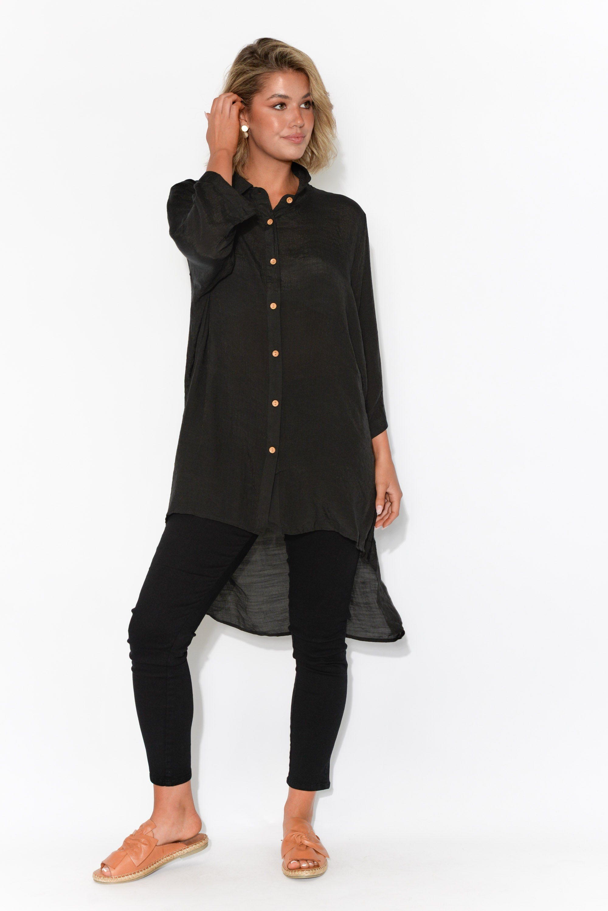 Thorn Black Longline Shirt