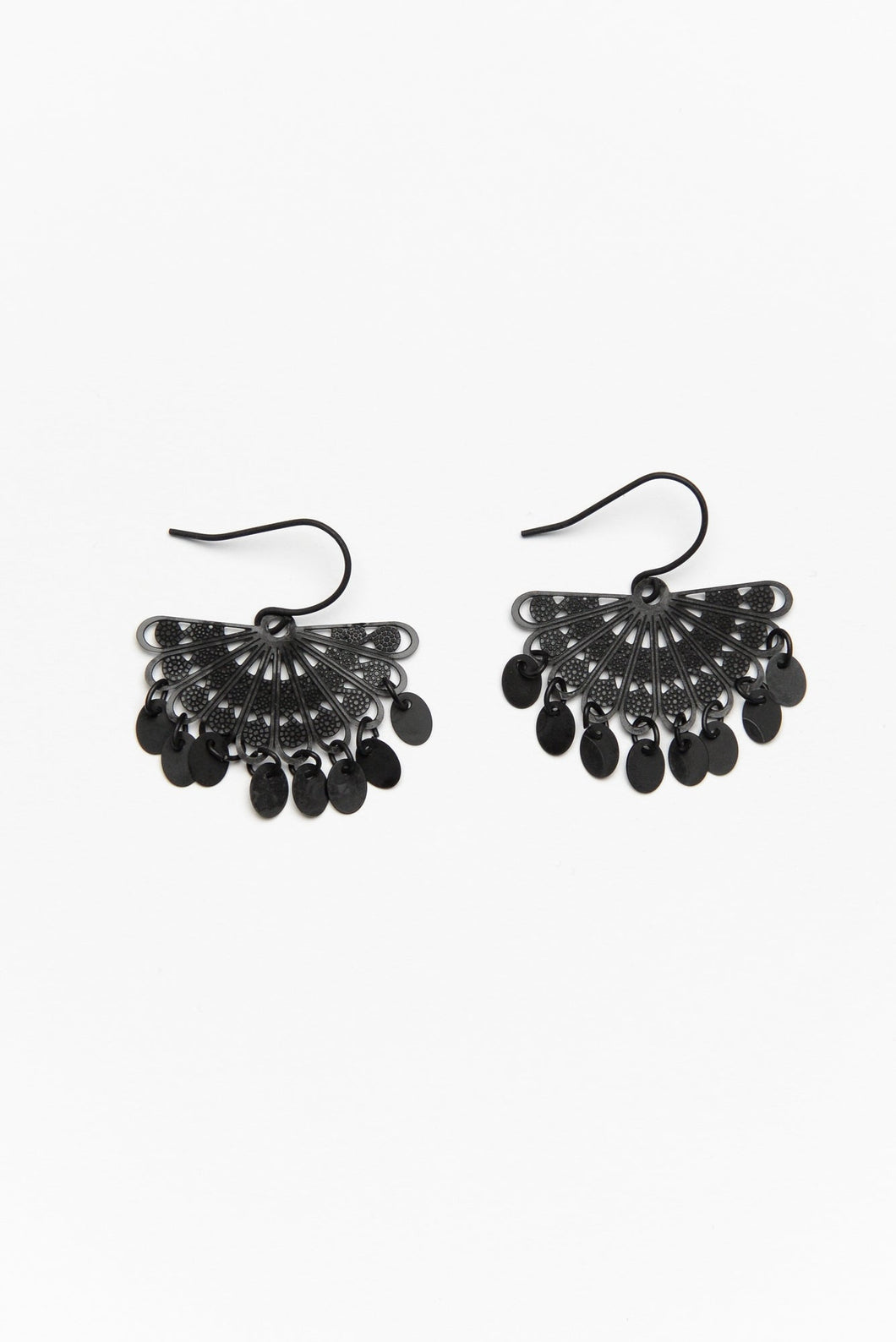 Tinkle Black Fan Drop Earring