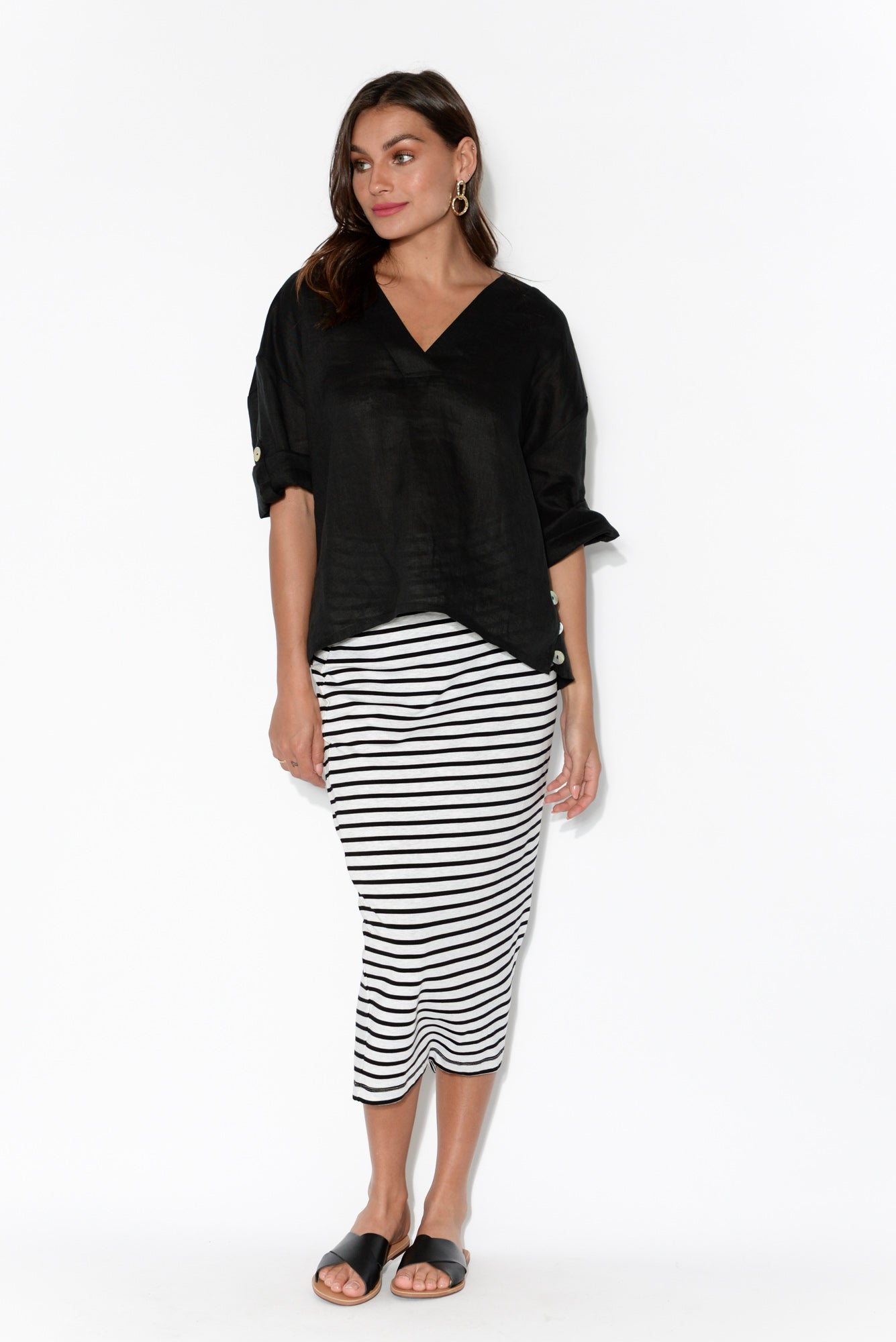 Tribu Black Linen V Neck Blouse